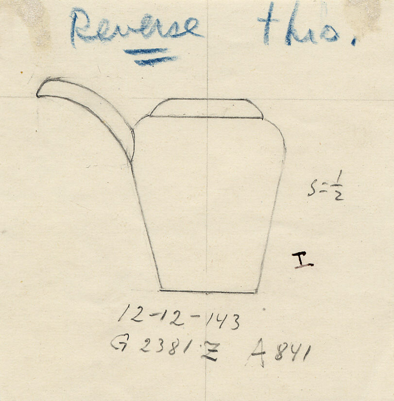 Drawings: G 2381, Shaft Z: model jar with spout, copper