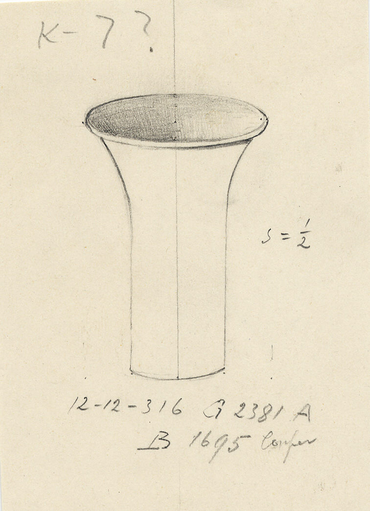Drawings: G 2381, Shaft A: incense cup, copper