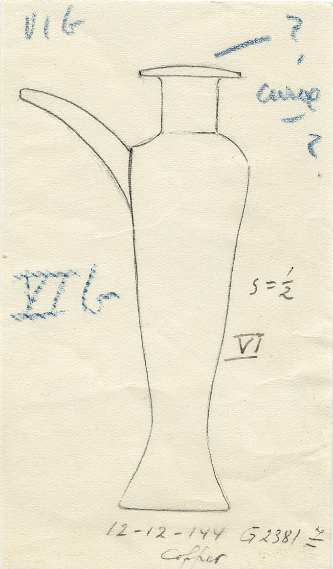 Drawings: G 2381, Shaft Z: model hes-vase with spout, copper