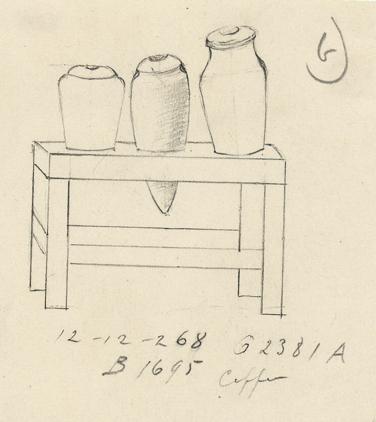 Drawings: G 2381, Shaft A: model table with jars, copper