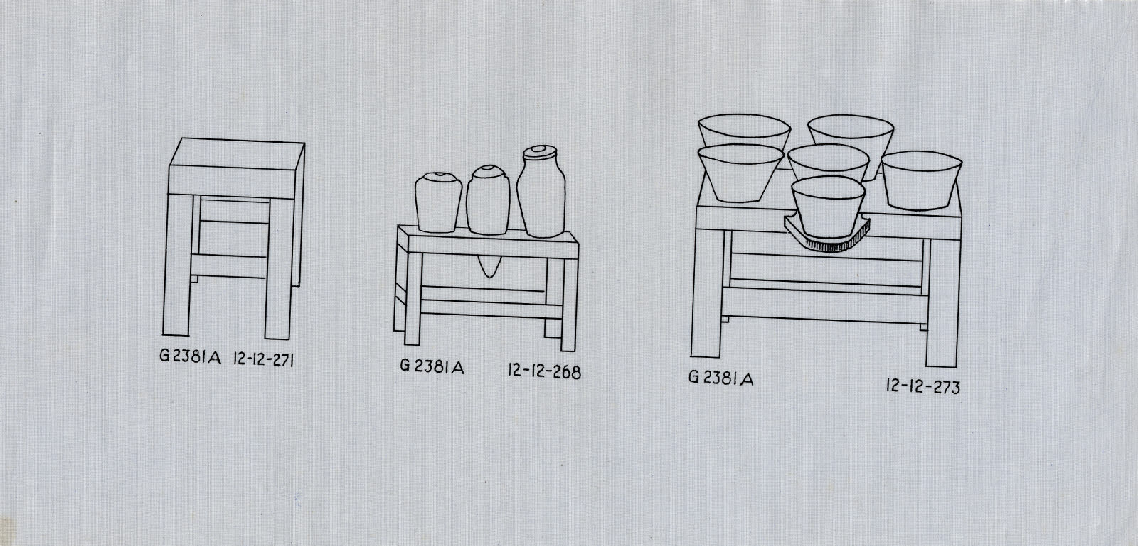 Drawings: G 2381, Shaft A: model tables with vessels, copper