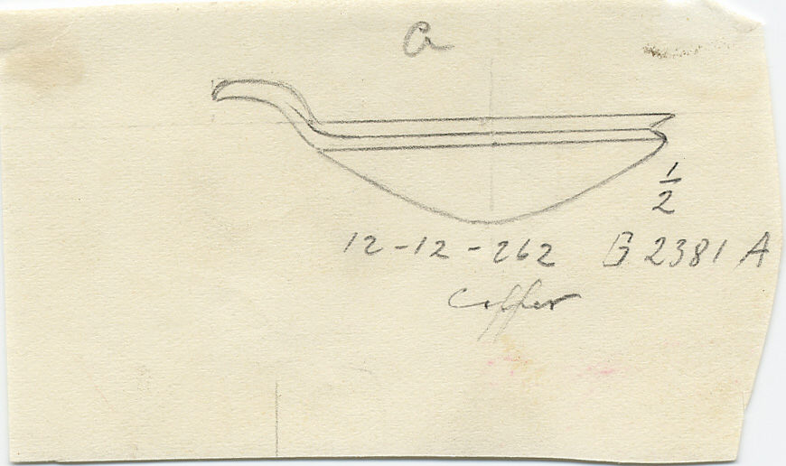 Drawings: G 2381, Shaft A: bowl with spout, copper