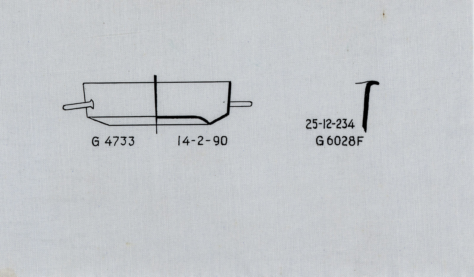 Drawings: Objects, copper and bronze, from G 4733, Shaft E and G 6028, Shaft F