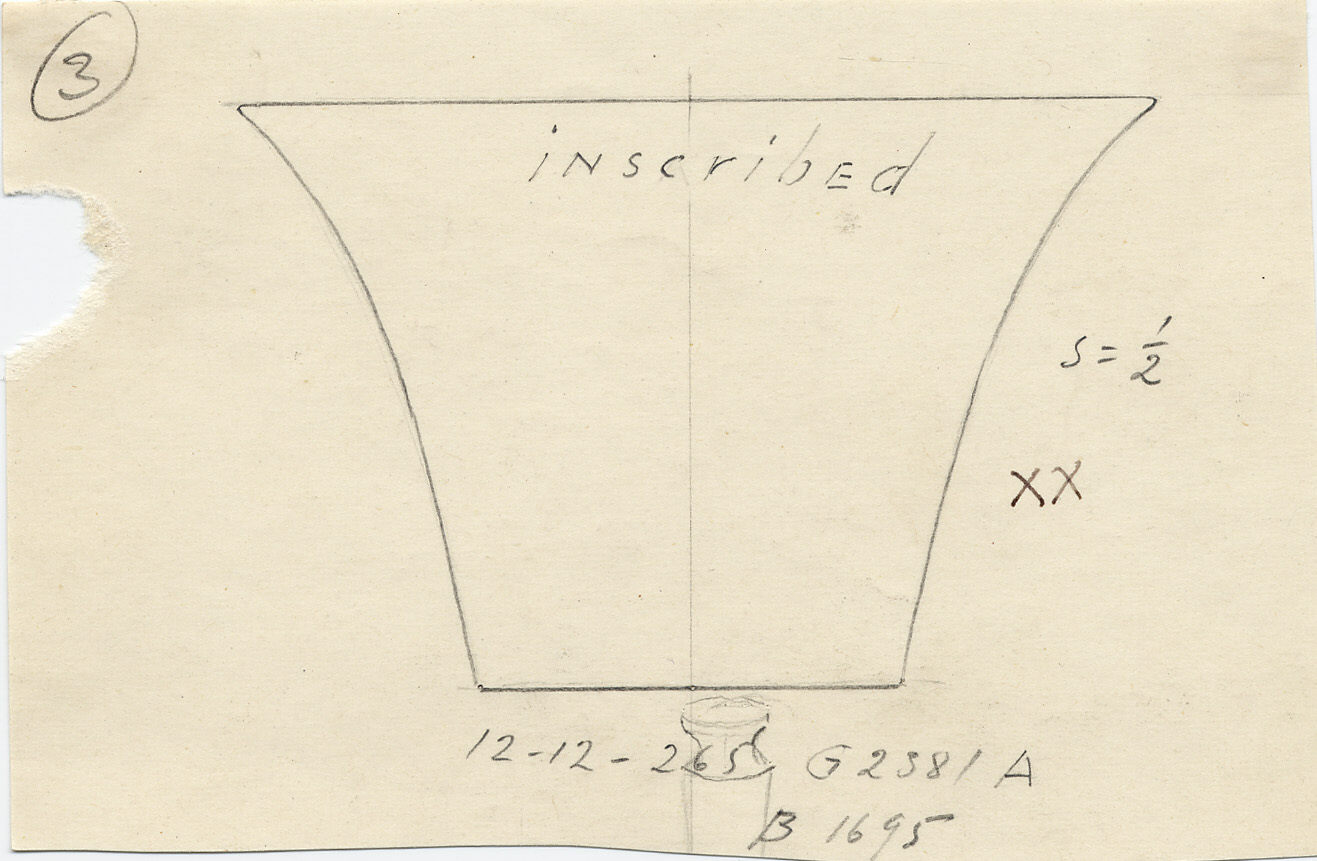 Drawings: G 2381, Shaft A: basin with flaring sides, inscribed, copper,