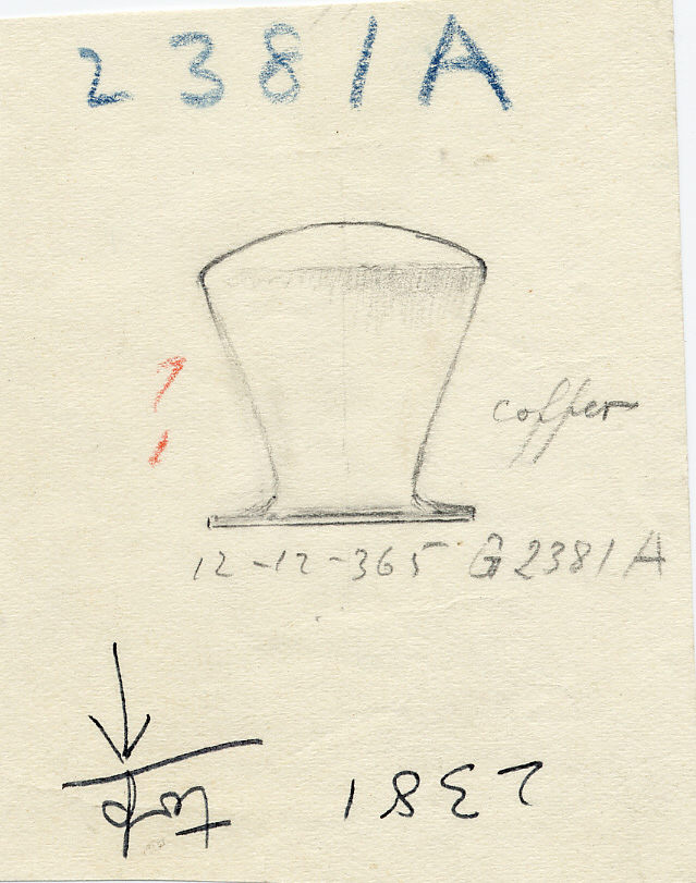 Drawings:  G 2381, Shaft A: model bag-shaped jar, copper