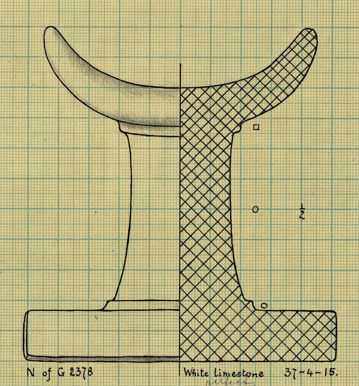 Drawings: G 2378: headrest, limestone, from N of tomb