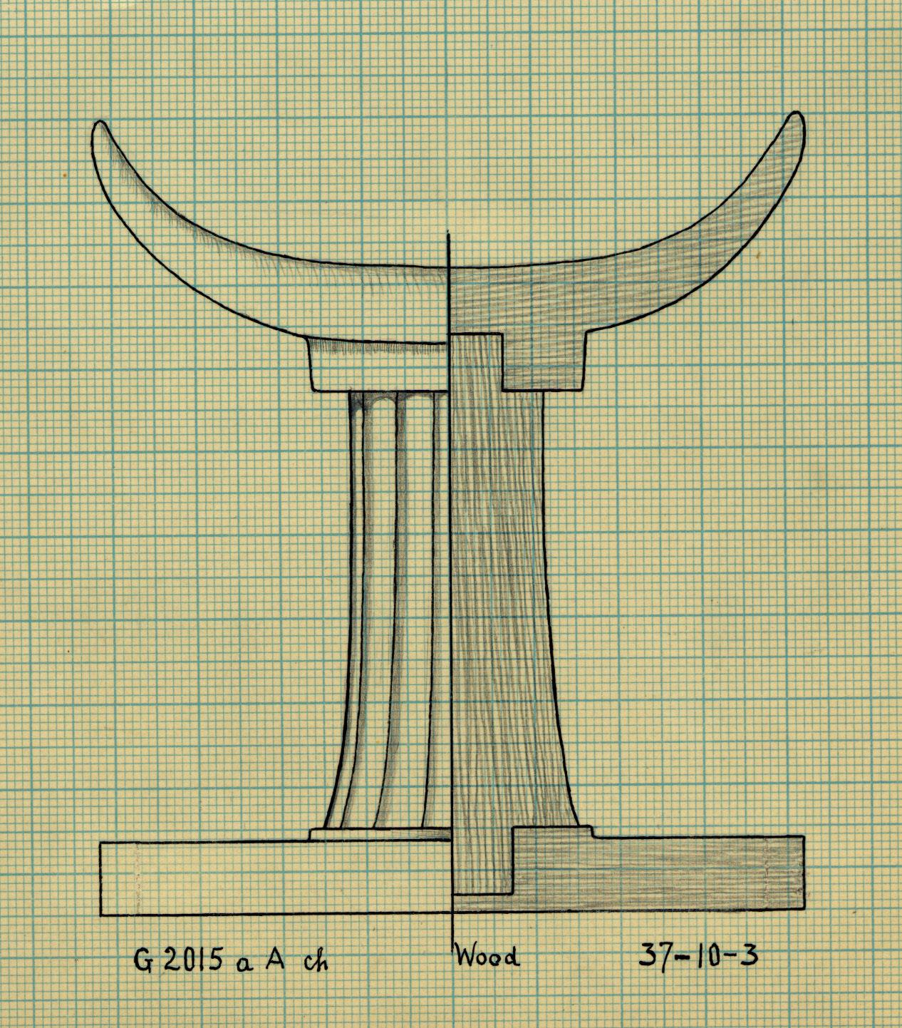 Drawings: G 2015, Shaft A, chamber: headrest, wood