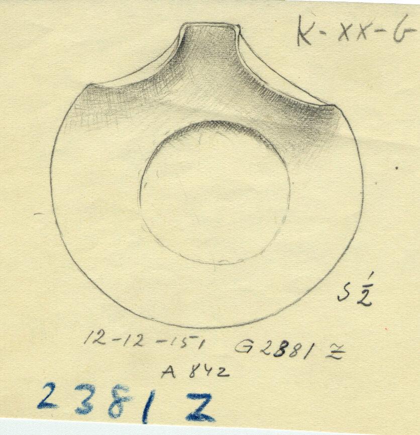 Drawings:  G 2381, Shaft Z:  bowl with bend-rim spout, copper