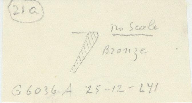 Drawings: G 6036, Shaft A: dish fragment, bronze