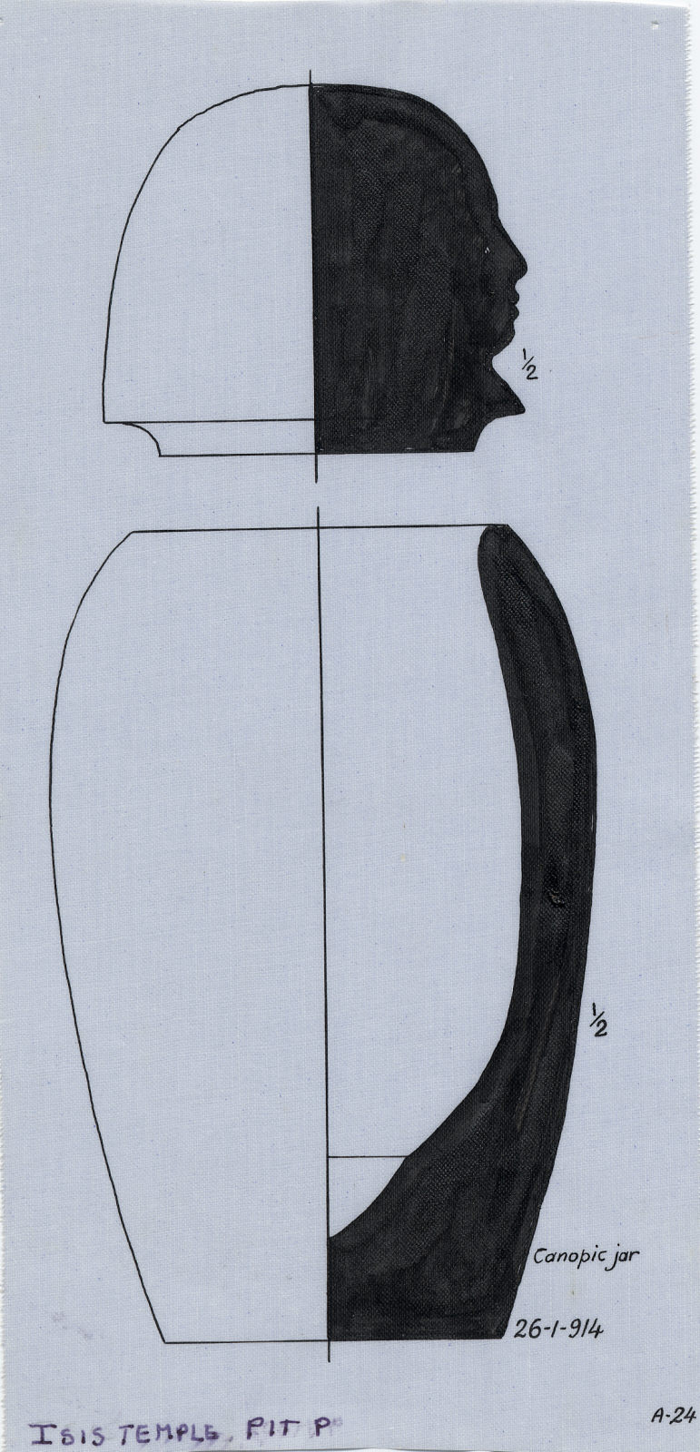 Drawings: Isis Temple, Shaft in Room P: canopic jar and lid, alabaster