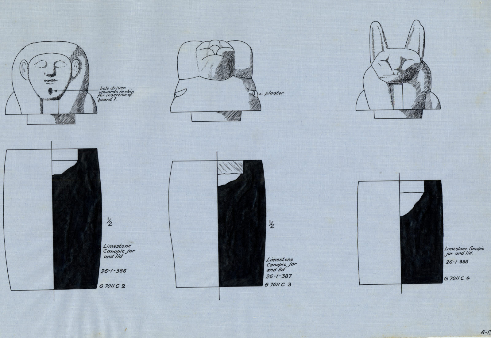 Drawings:  7011, Shaft C: canopic jars and lids, limestone