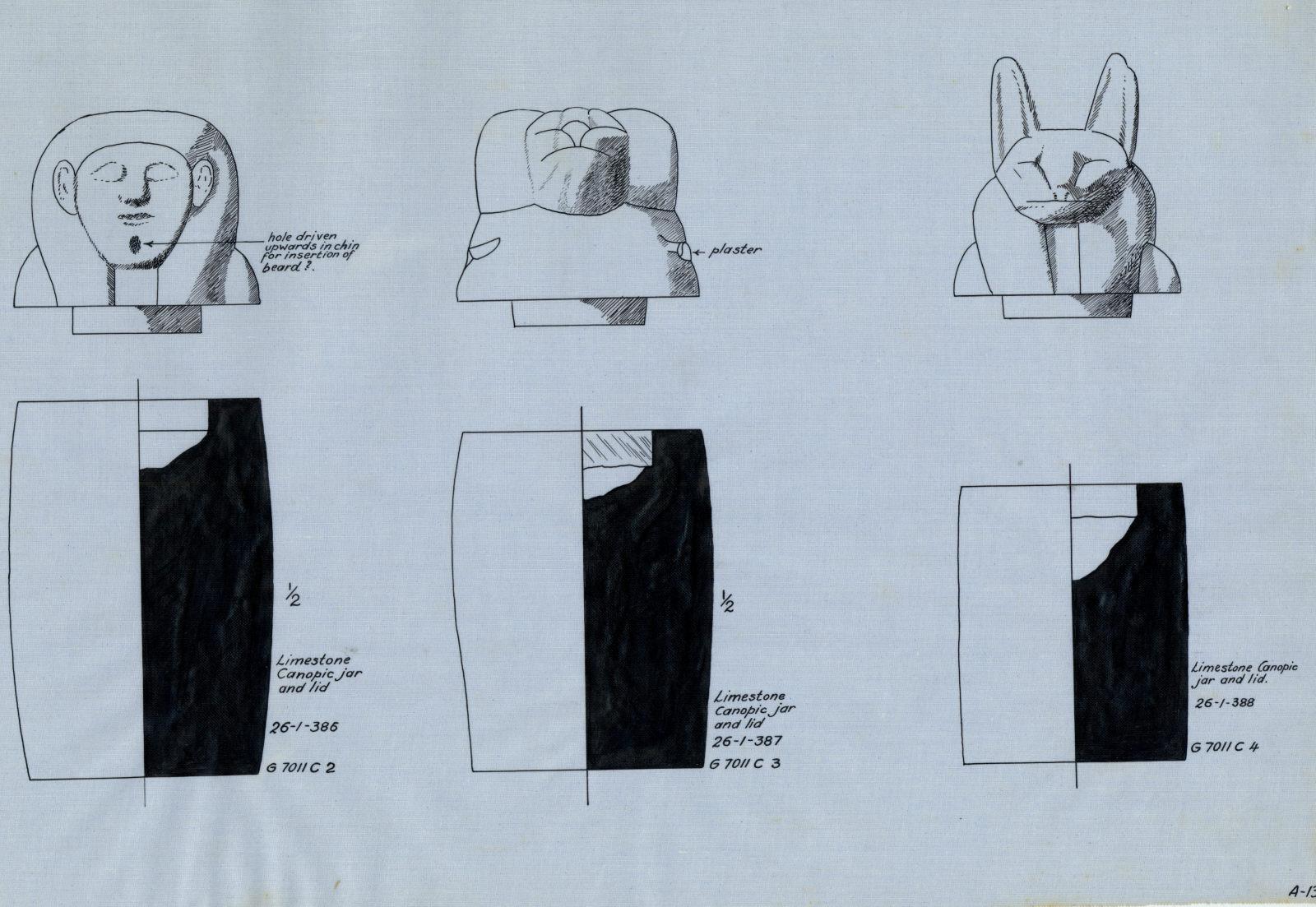 Drawings:  7011, Shaft C: canopic jars and lids, limestone