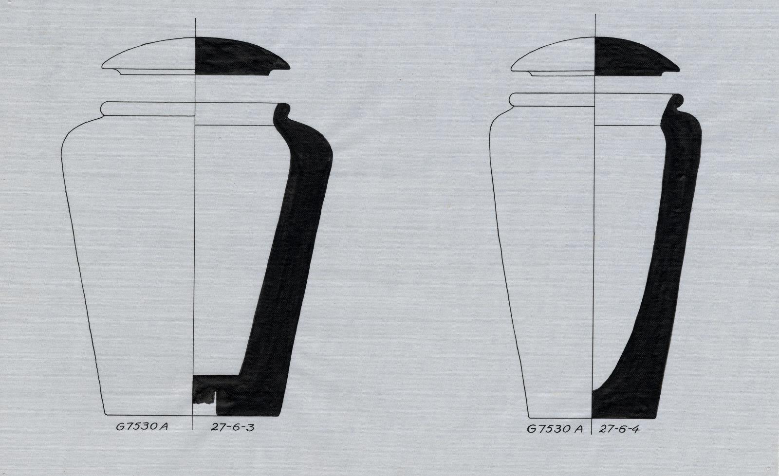 Drawings: G 7530, Shaft A: canopic jars and lids, limestone