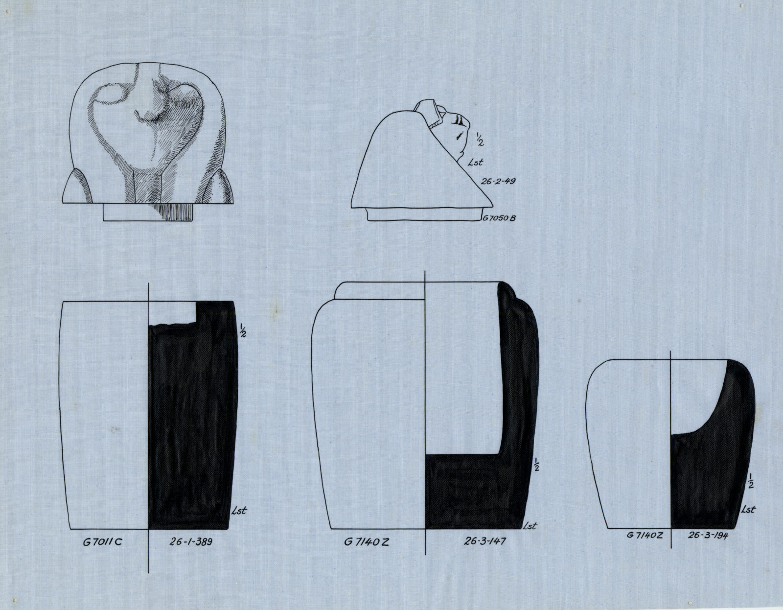 Drawings: Canopic jars and lids, limestone, from G 7011, Shaft C; G 7140, Shaft Z (= G 7135); G 7050, Shaft B