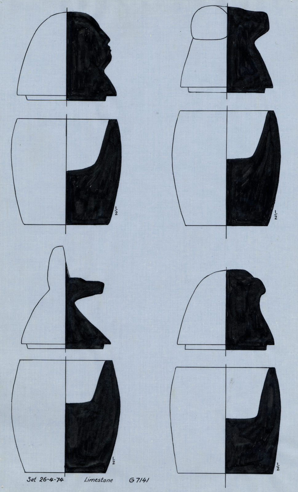 Drawings: G 7141: canopic jars and lids, limestone