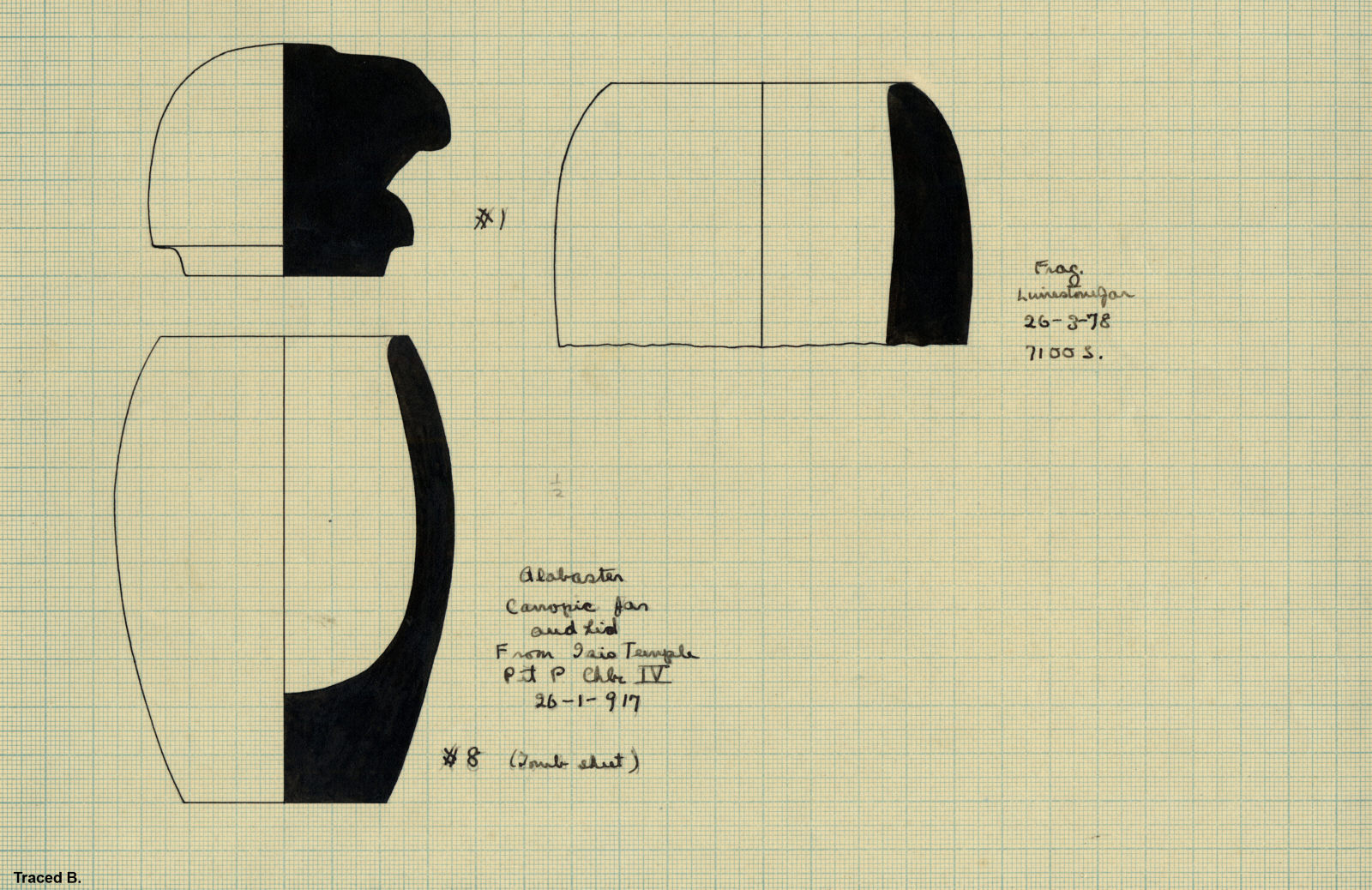 Drawings: Objects from Isis Temple, Shaft P; and Street G 7100 S