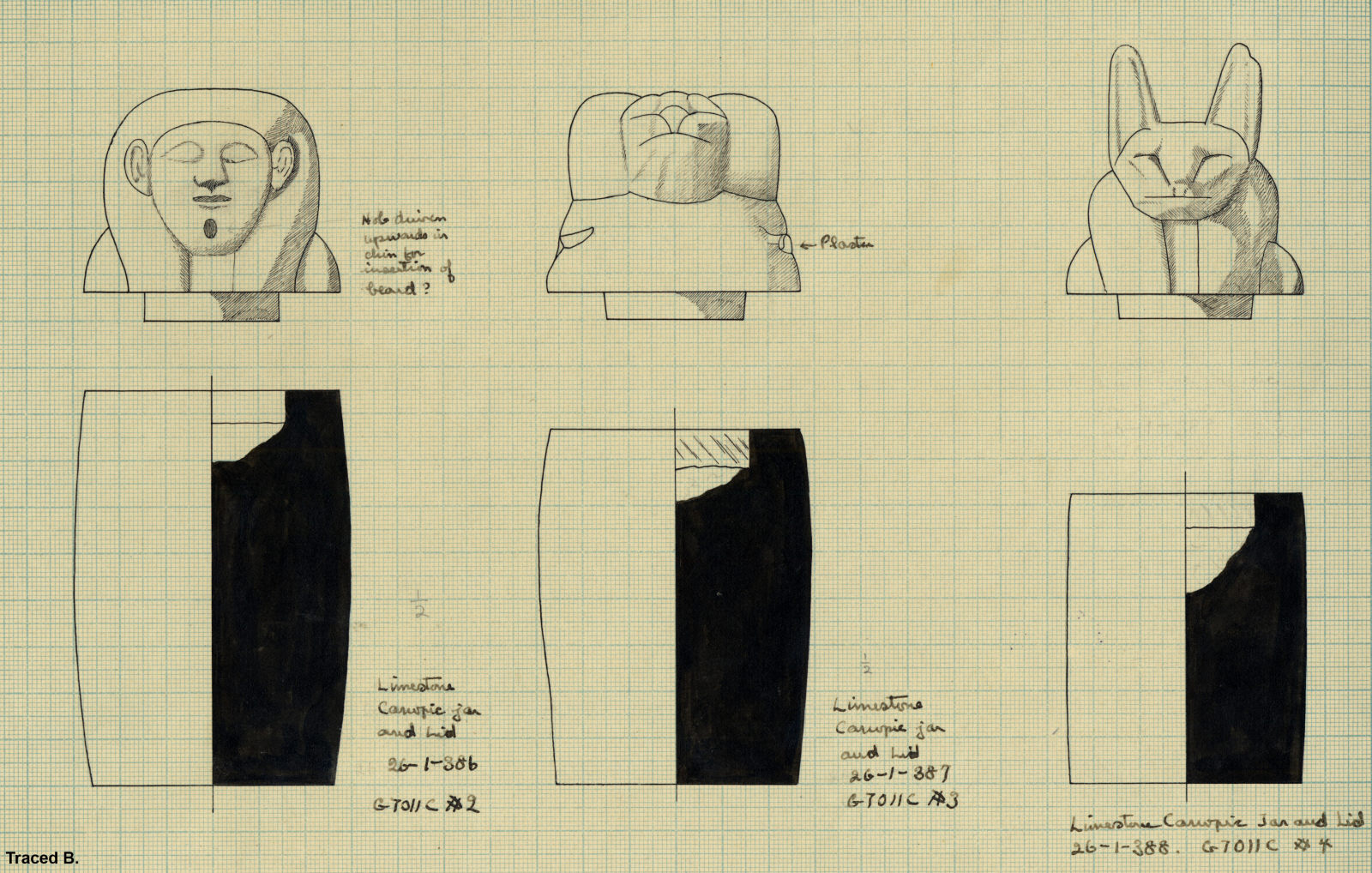 Drawings: G 7011, Shaft C: canopic jars and lids, limestone