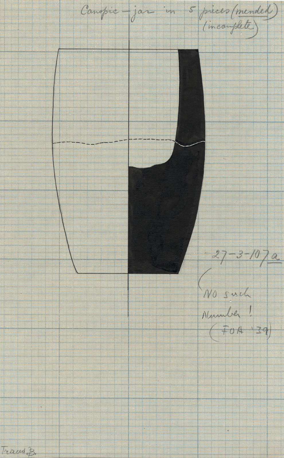 Drawings:  G 7792, Shaft A: canopic jar