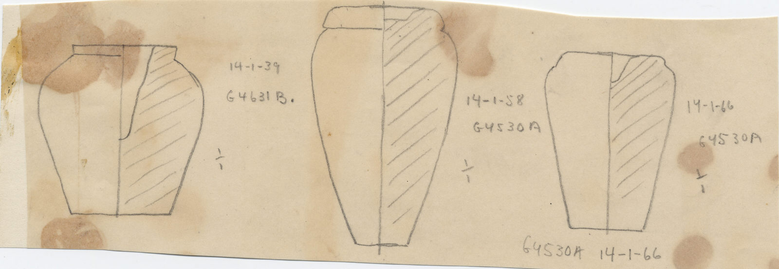 Drawings: Model jars from G 4530, Shaft A; and G 4631, Shaft B