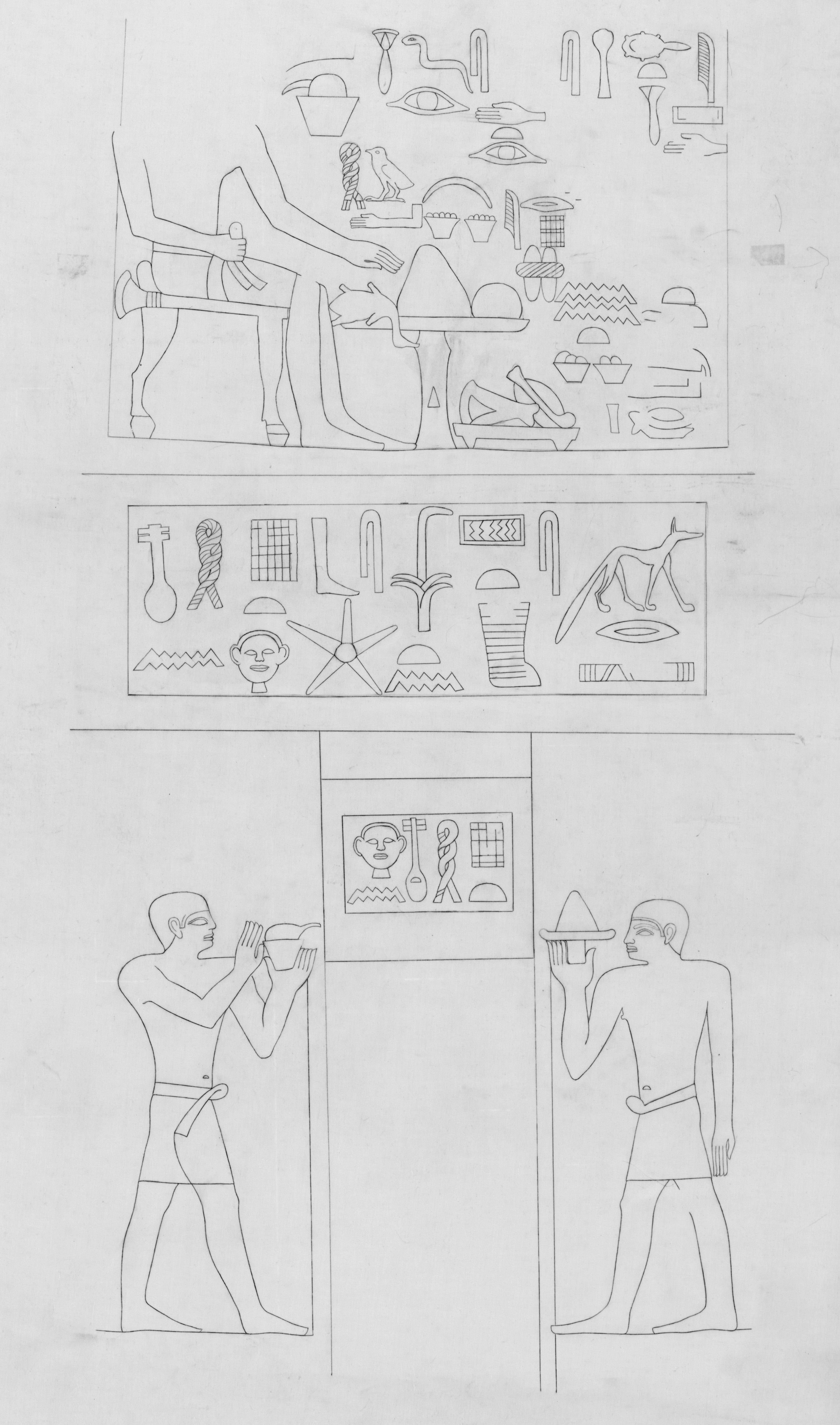 Drawings: G 4311: relief from chapel, W wall, S false door