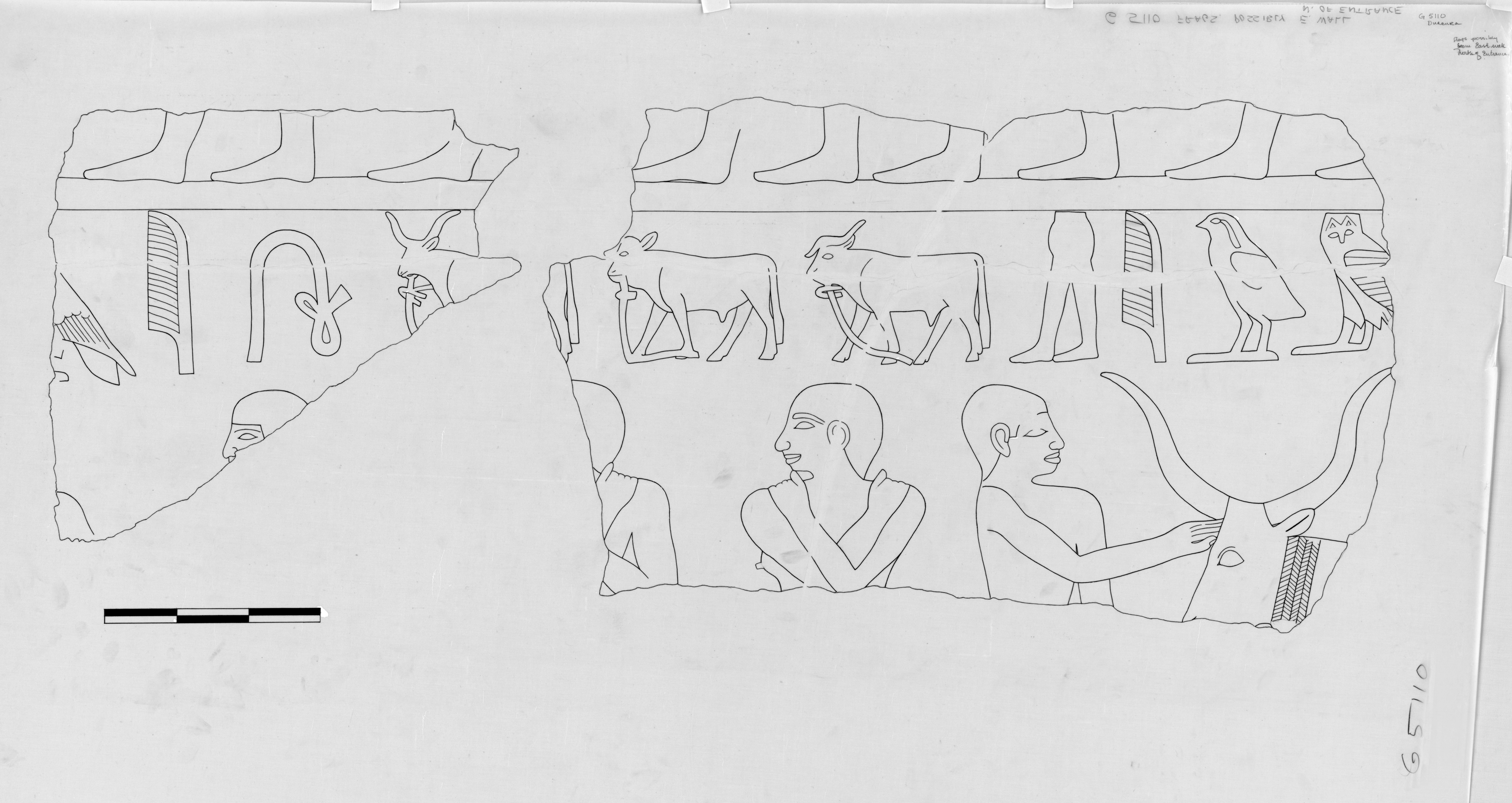 Drawings: G 5110: relief from E wall, N of entrance
