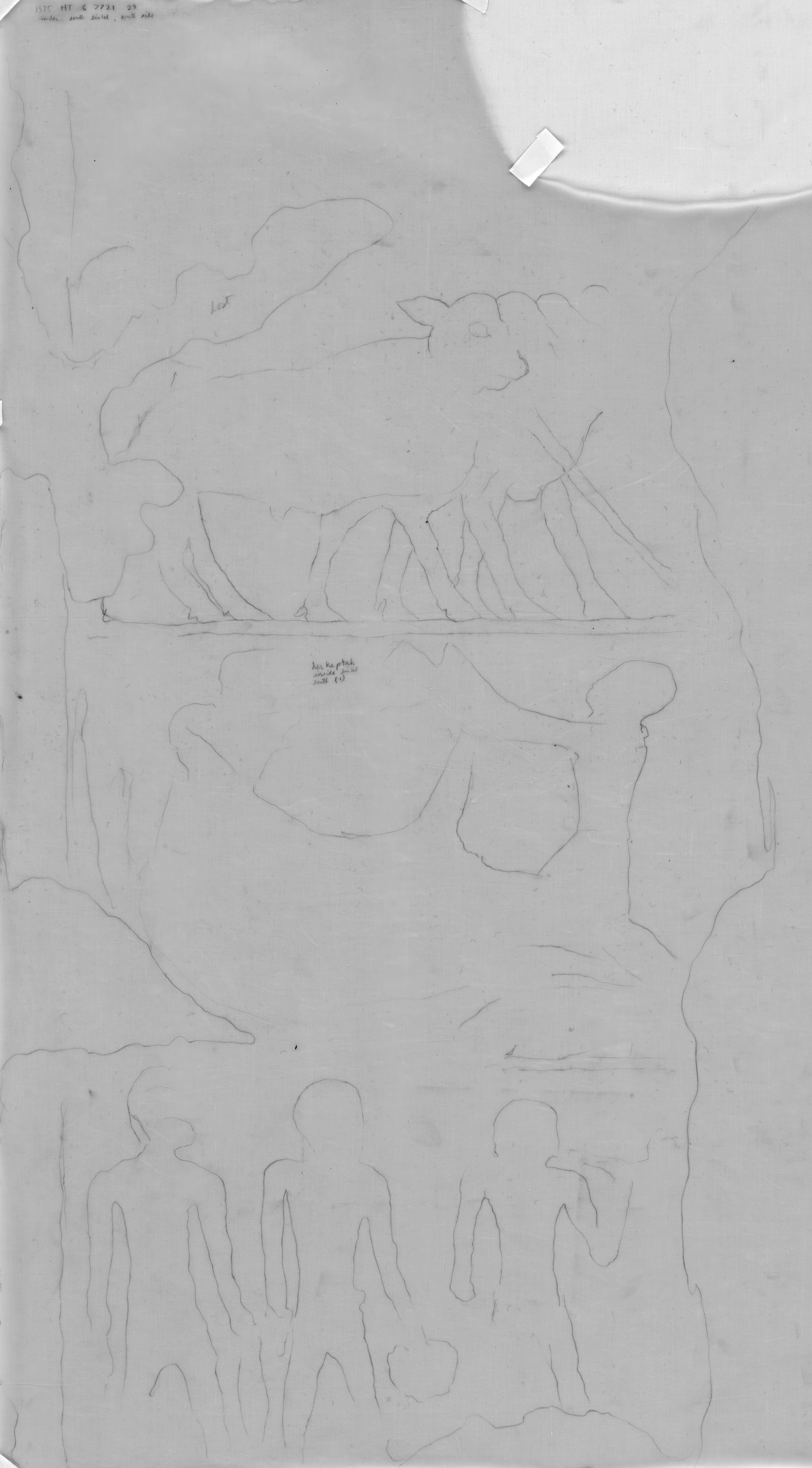Drawings: G 7721: relief from outer room, W wall, S door, S jamb