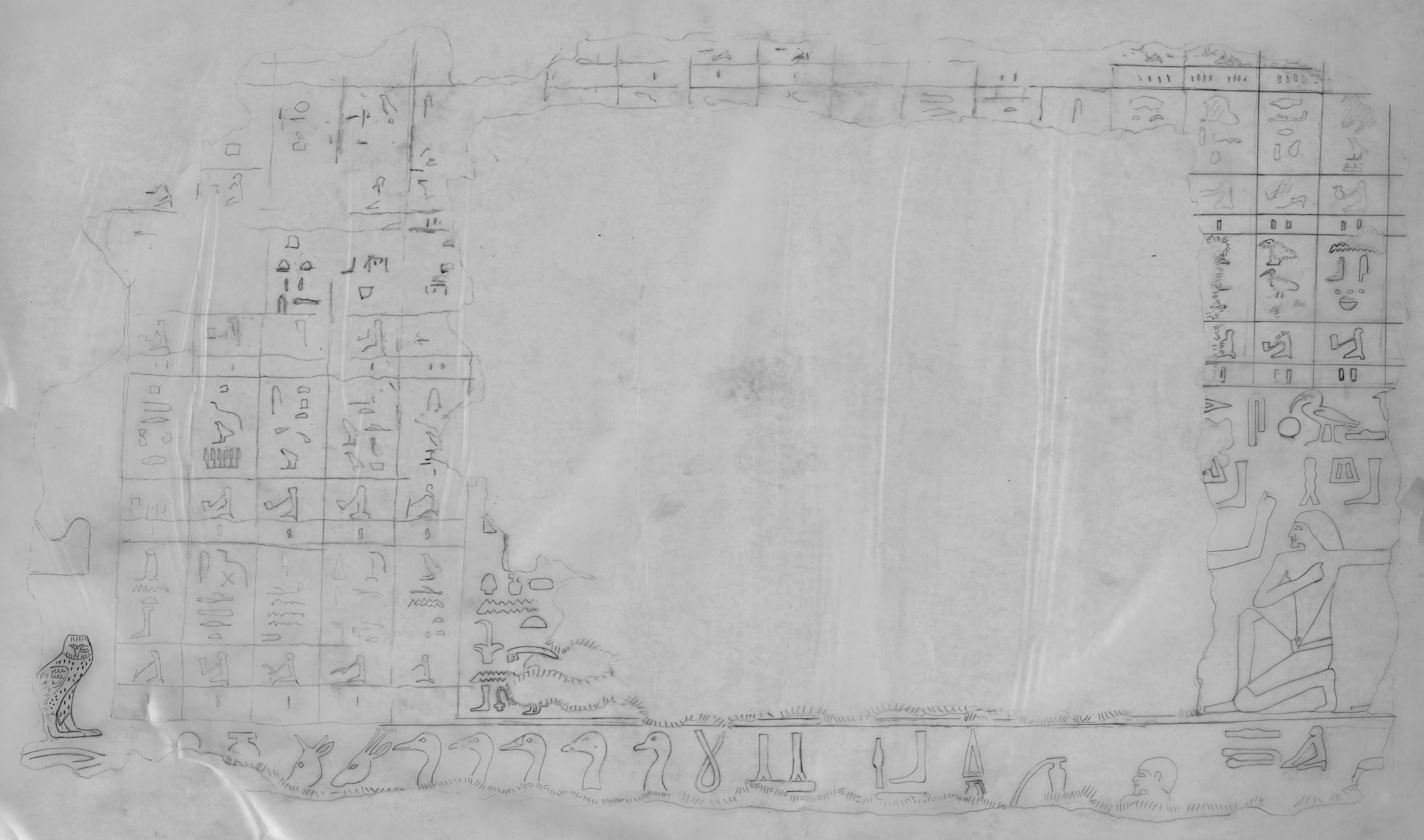 Drawings: G 2382 (originally G 2381): relief from block, offering list