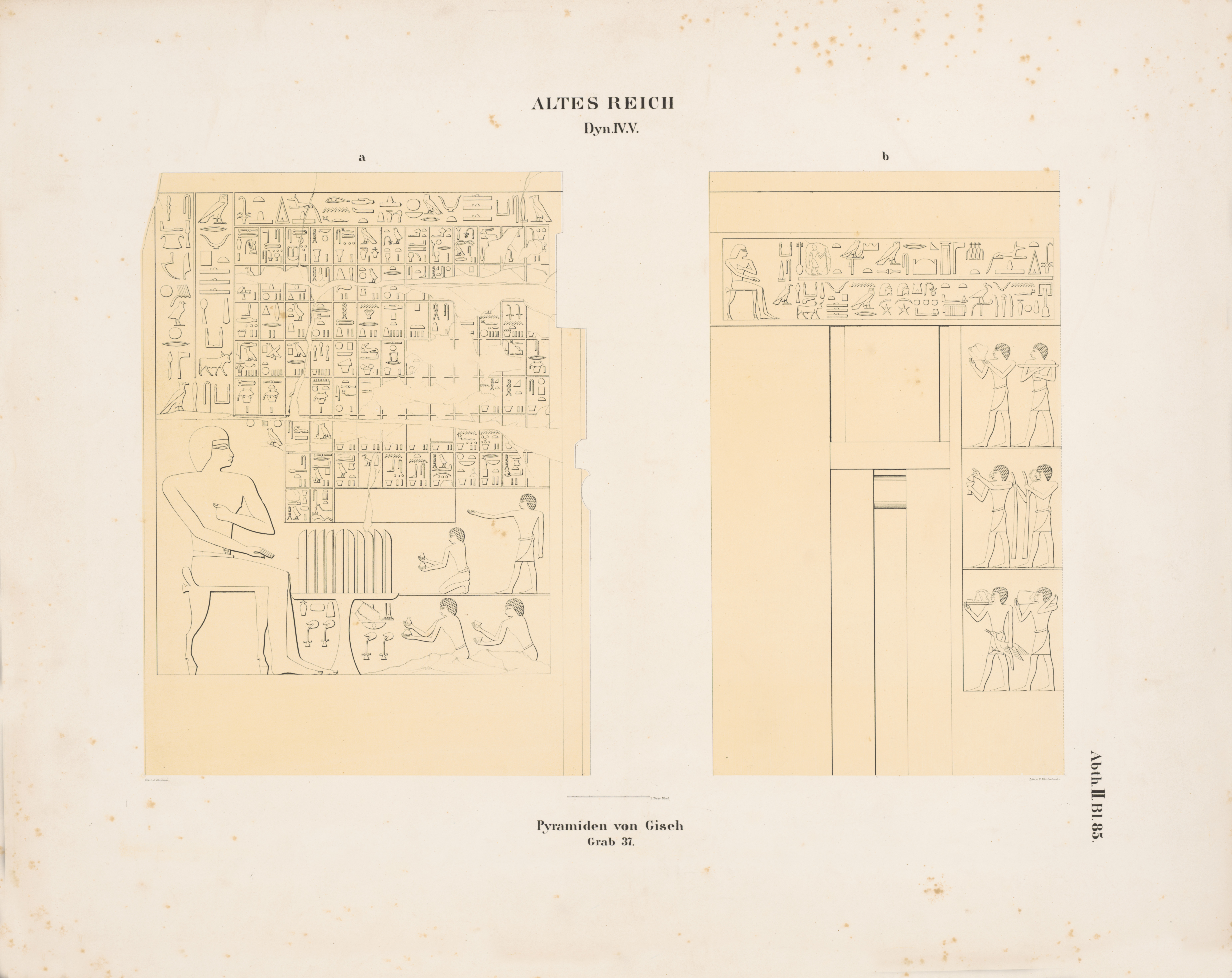 Drawings: G 5340 (= Lepsius 37): relief from chapel, S wall and W wall, S false door