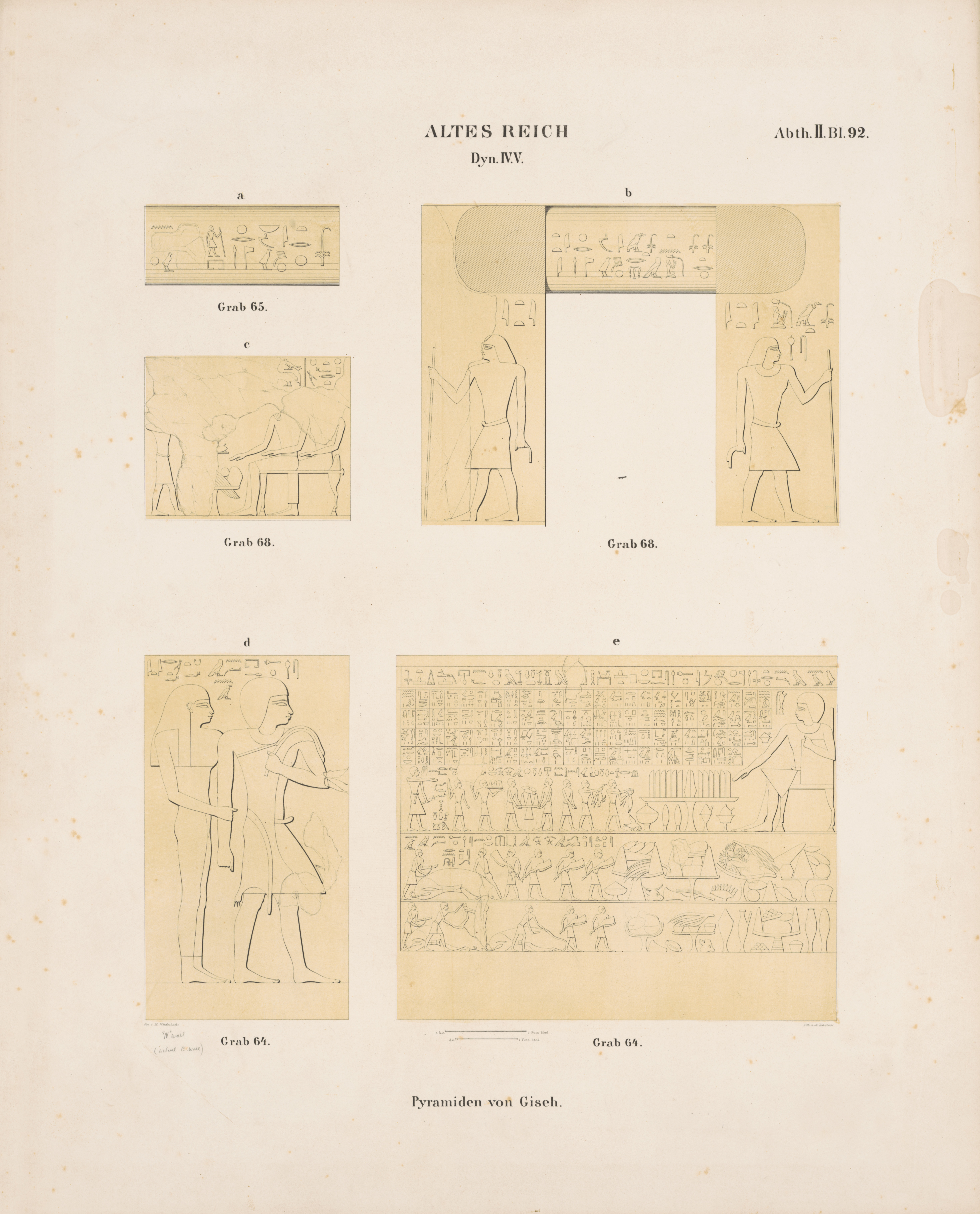 Drawings: Relief from Lepsius 65, entrance, drum lintel; Lepsius 68, drum lintel, entrance thicknesses, and S wall; Lepsius 64, N wall, E of entrance, and S wall