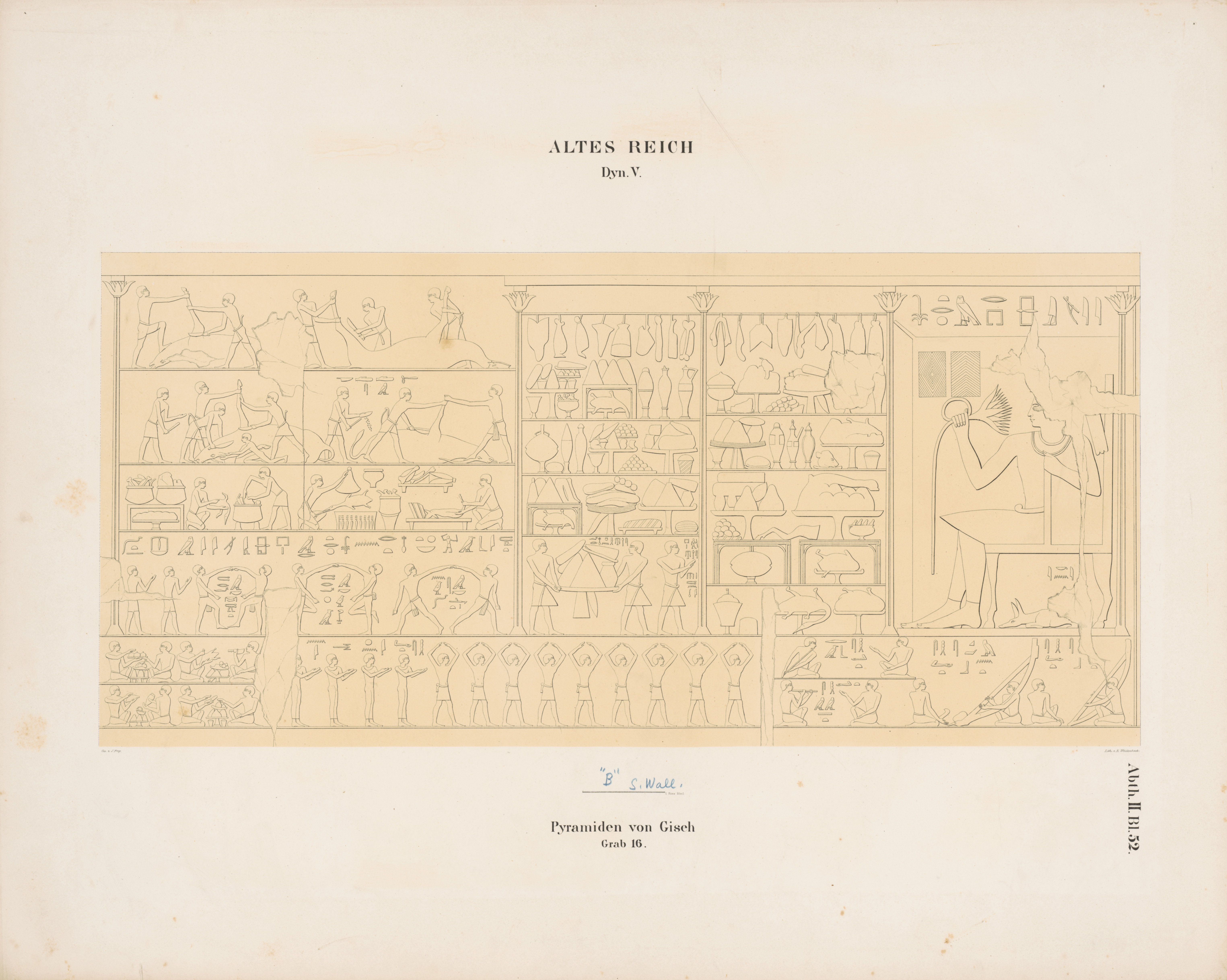 Drawings: G 6020 (= Lepsius 16): relief from Chamber 2, S wall, W section