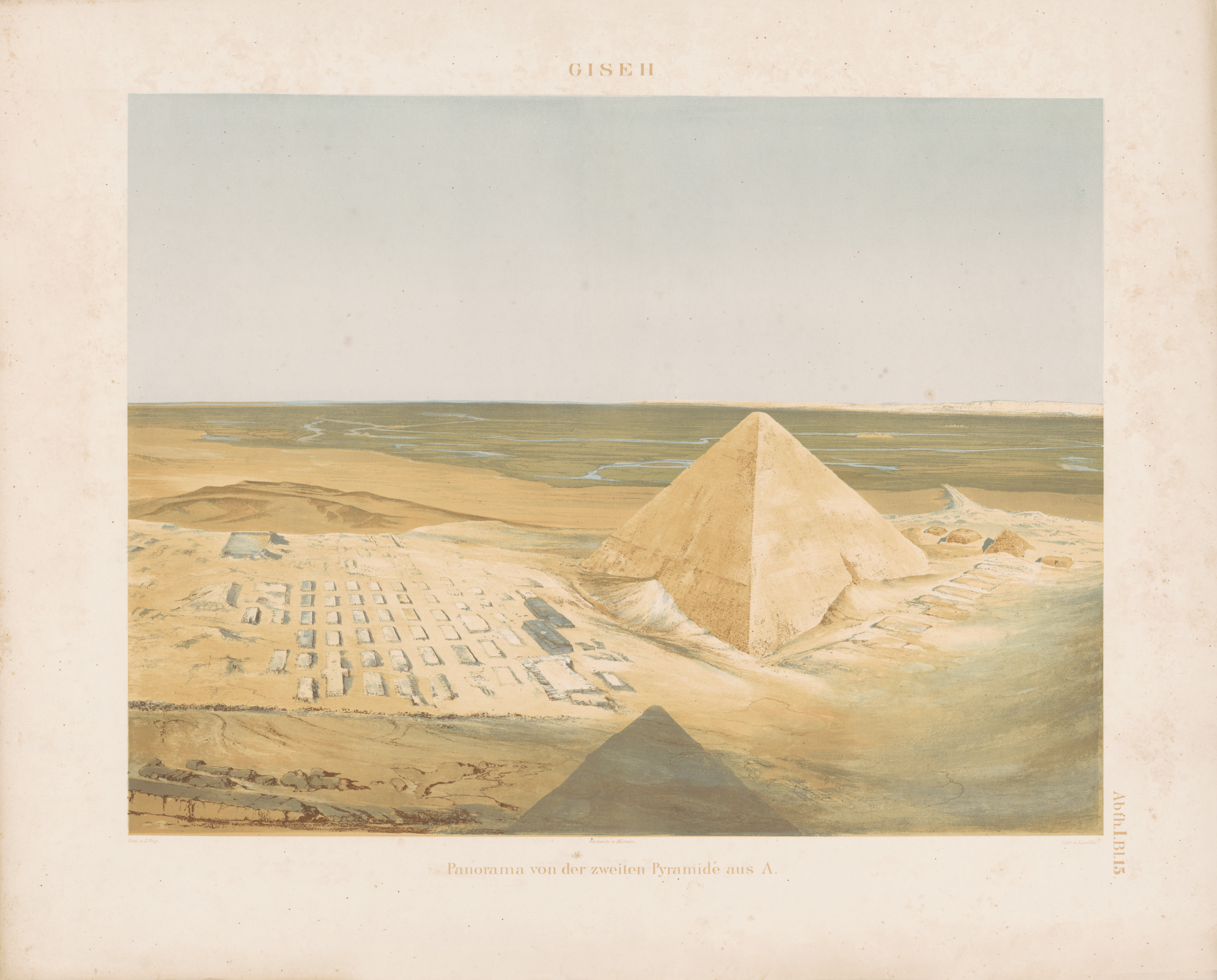 Drawings: View from Khafre Pyramid, looking NE (color plate)