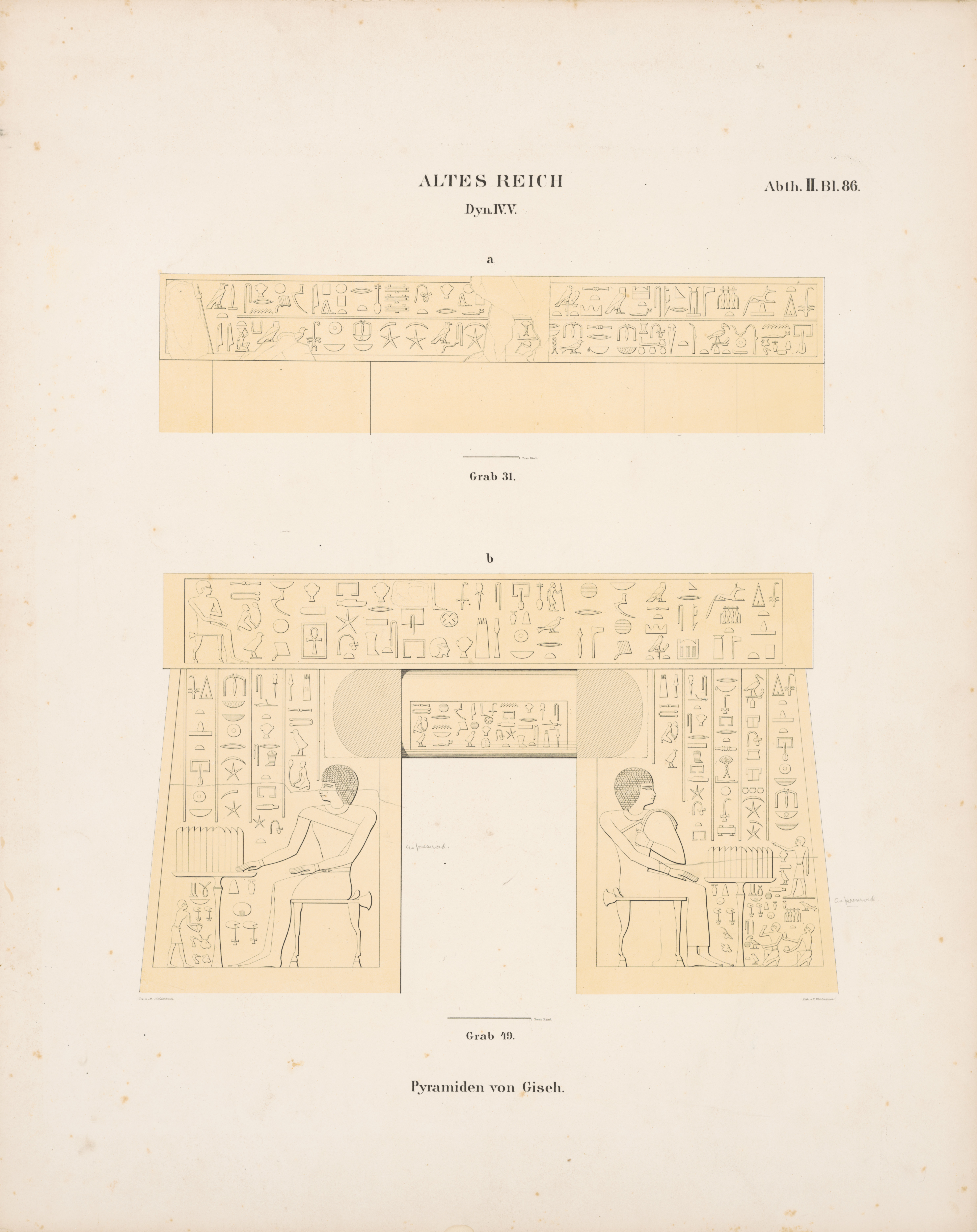 Drawings: Relief from G 4710 (= Lepsius 49), entrance, lintel and jambs; and G 5370 (= Lepsius 31): W wall, architrave