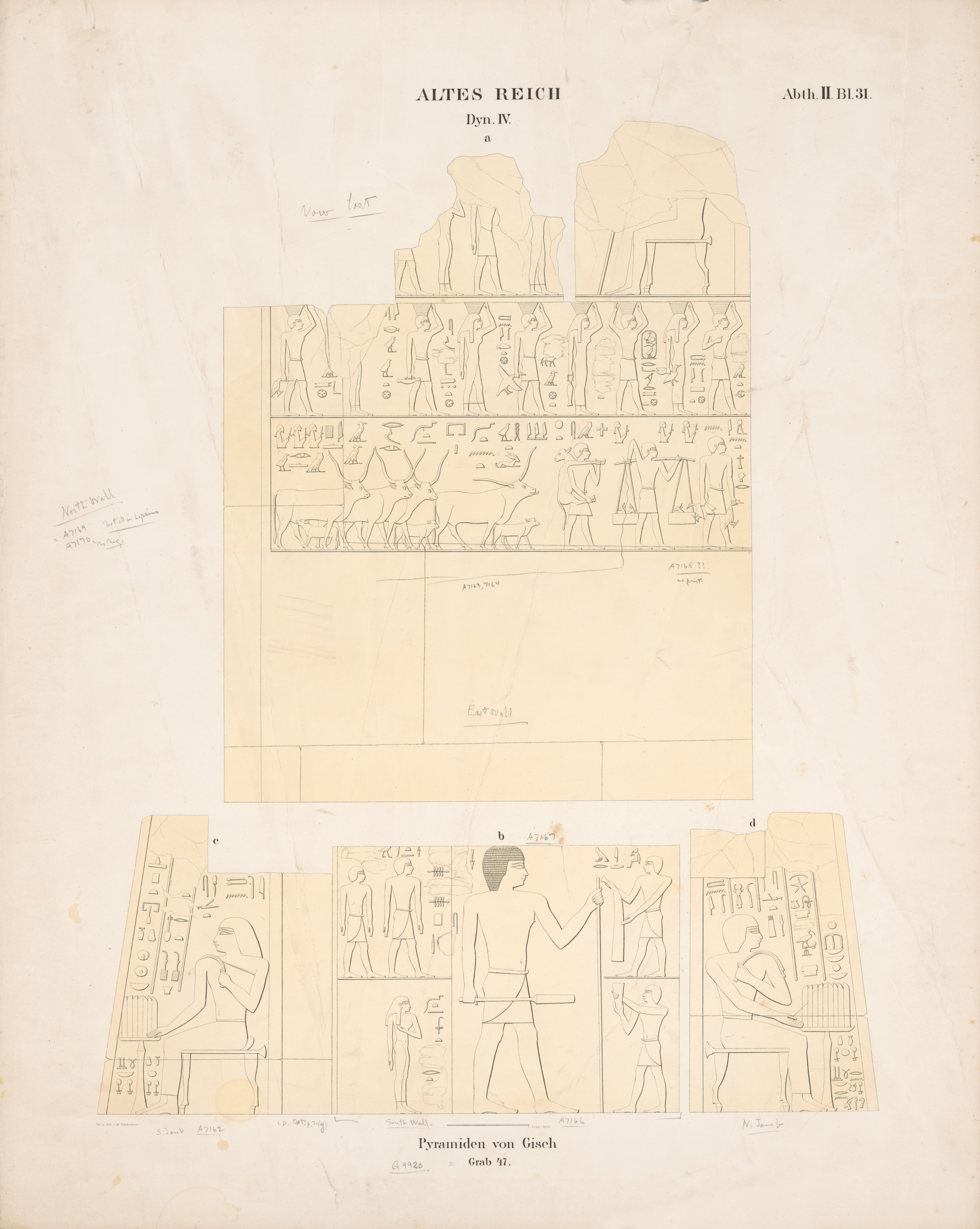 Drawings: G 4920 (= Lepsius 47): relief from E and S wall; and entrance, N and S jambs