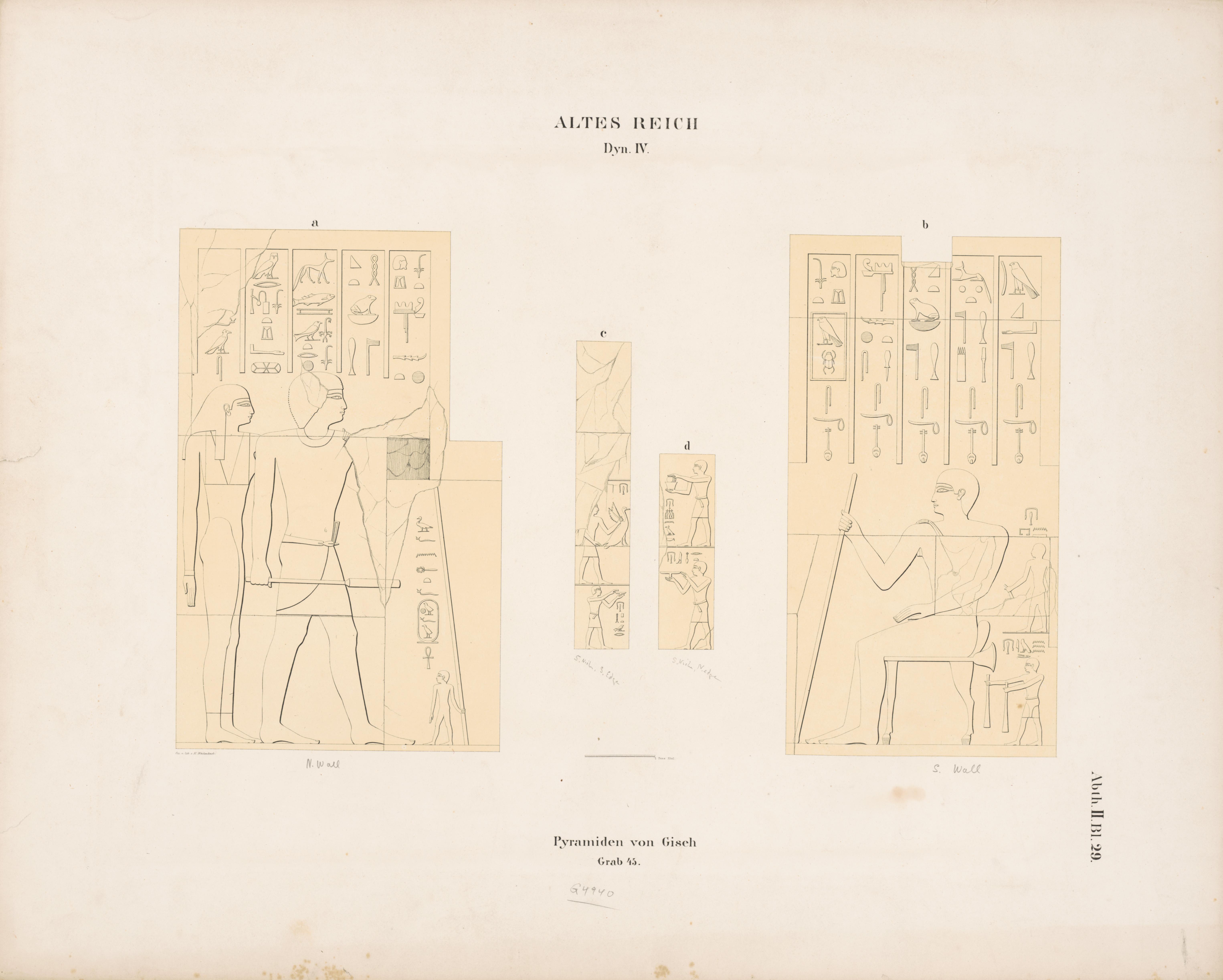 Drawings: G 4940 (= Lepsius 45): relief from interior chapel, N and S walls; chapel, S false door, S jamb; chapel, S false door, N jamb
