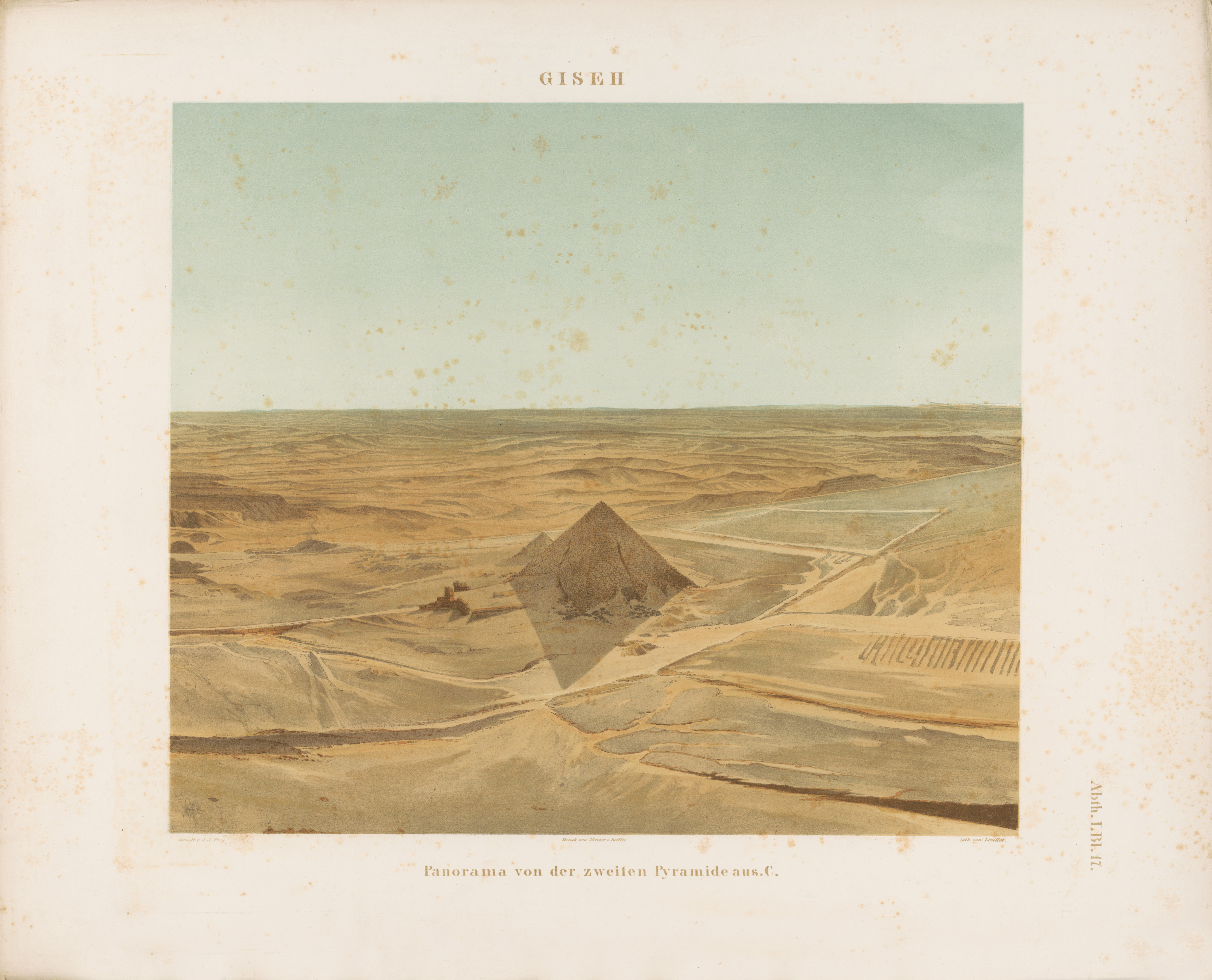 Drawings: General view from Khafre Pyramid, looking SE towards Menkaure Pyramid
