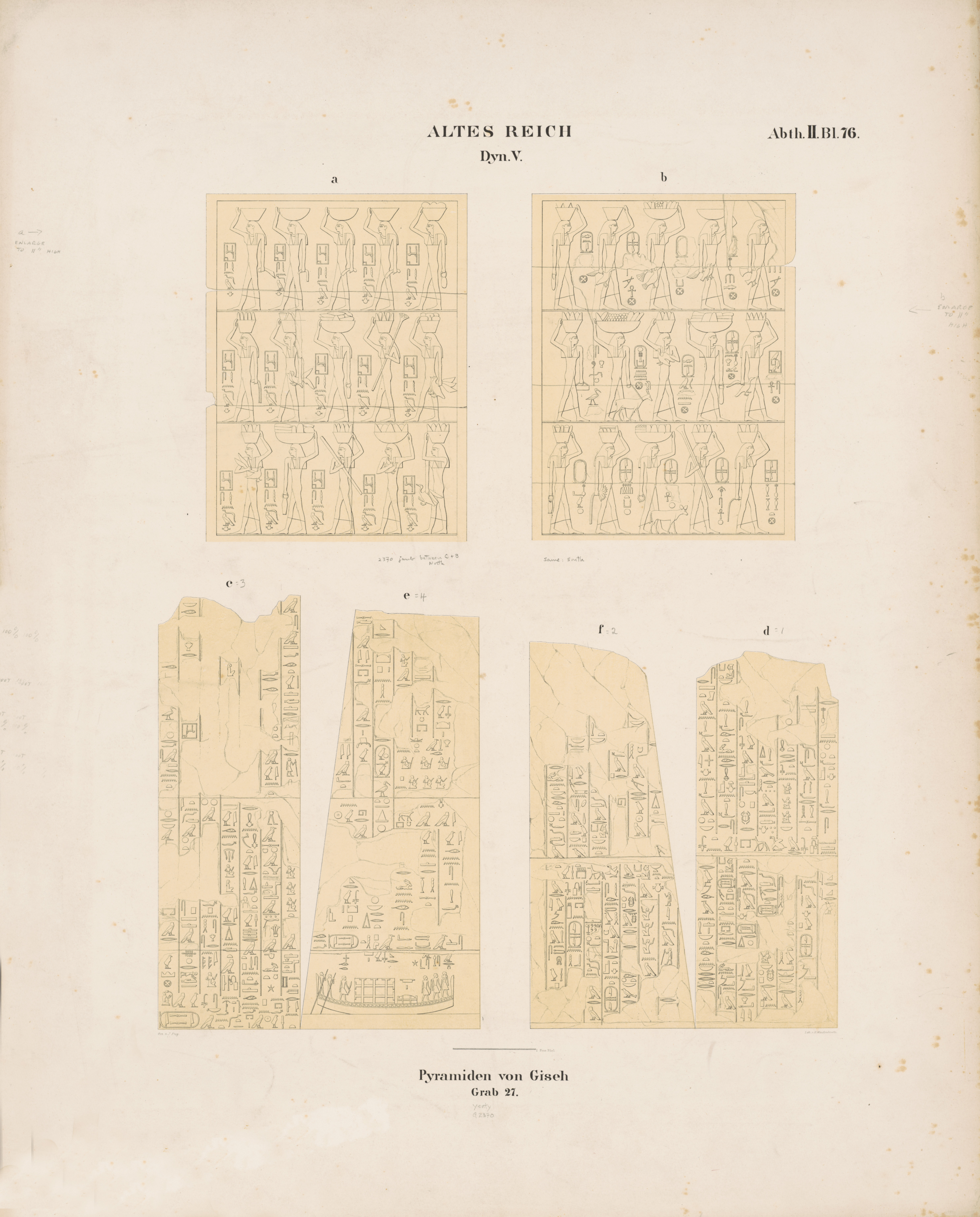 Drawings: G 2370 (= Lepsius 27): relief from Room III, N and S entrance thicknesses, facades N and S of portico, portico, and portico, N and S sides