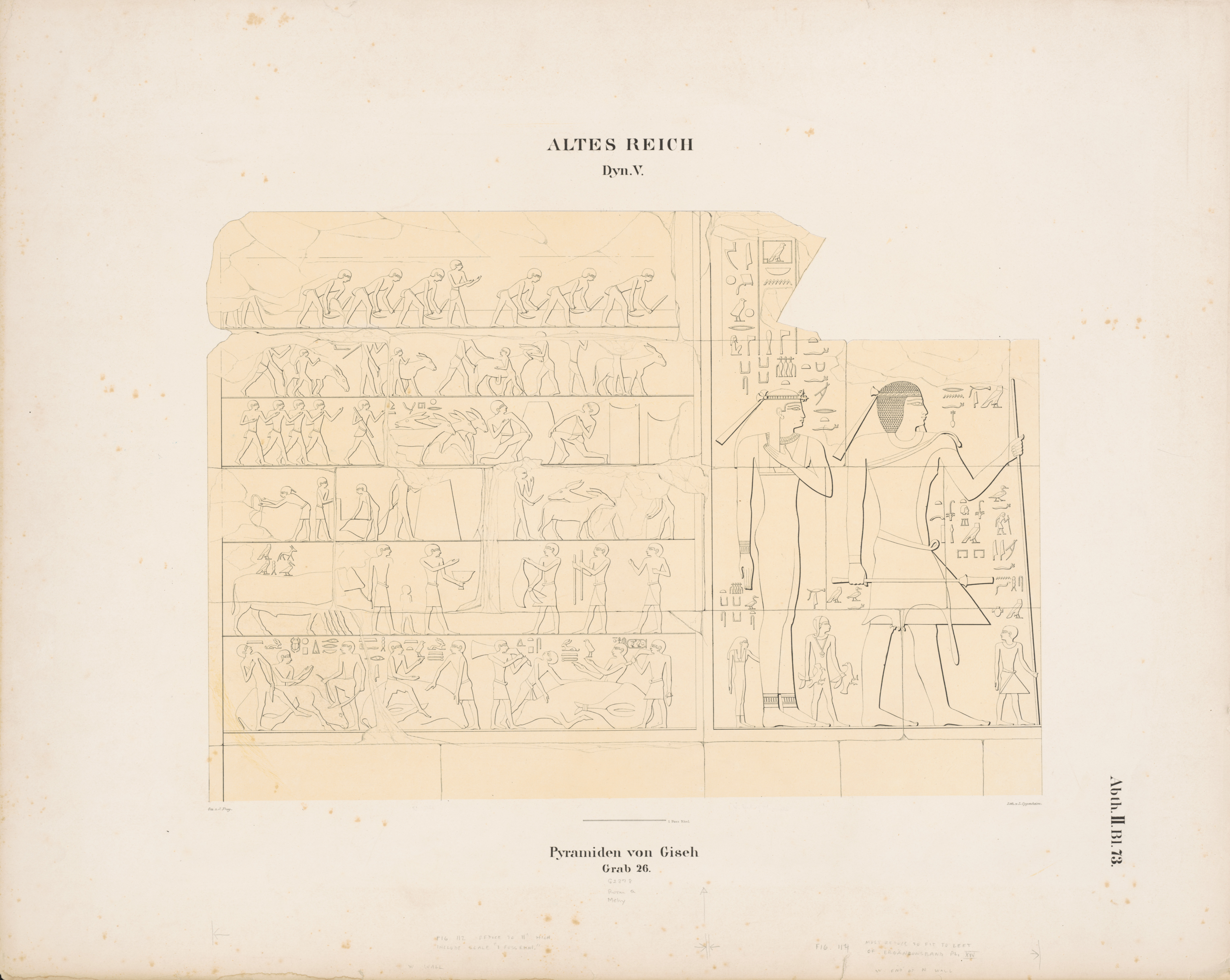 Drawings: G 2378 (= Lepsius 26): relief from Room II, N and W walls