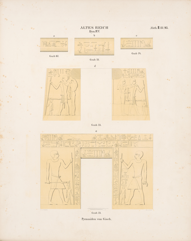 Drawings: Lepsius 73: relief from jambs, drum lintel, architrave, and drum lintels from Lepsius 67, Lepsius 72, Lepsius 74, and Lepsius 73, and