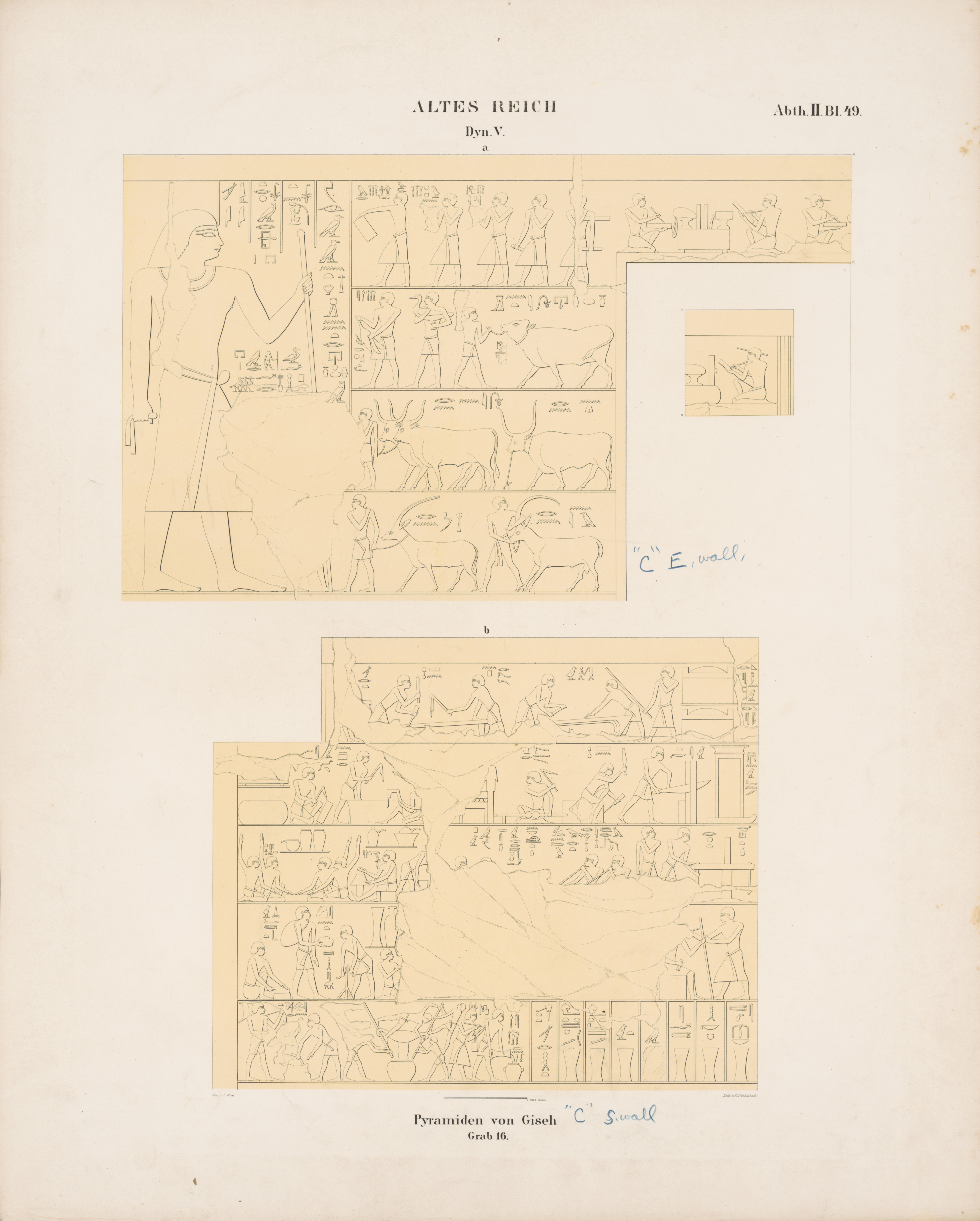 Drawings: G 6020 (= Lepsius 16): relief from Chamber 1, E and S walls