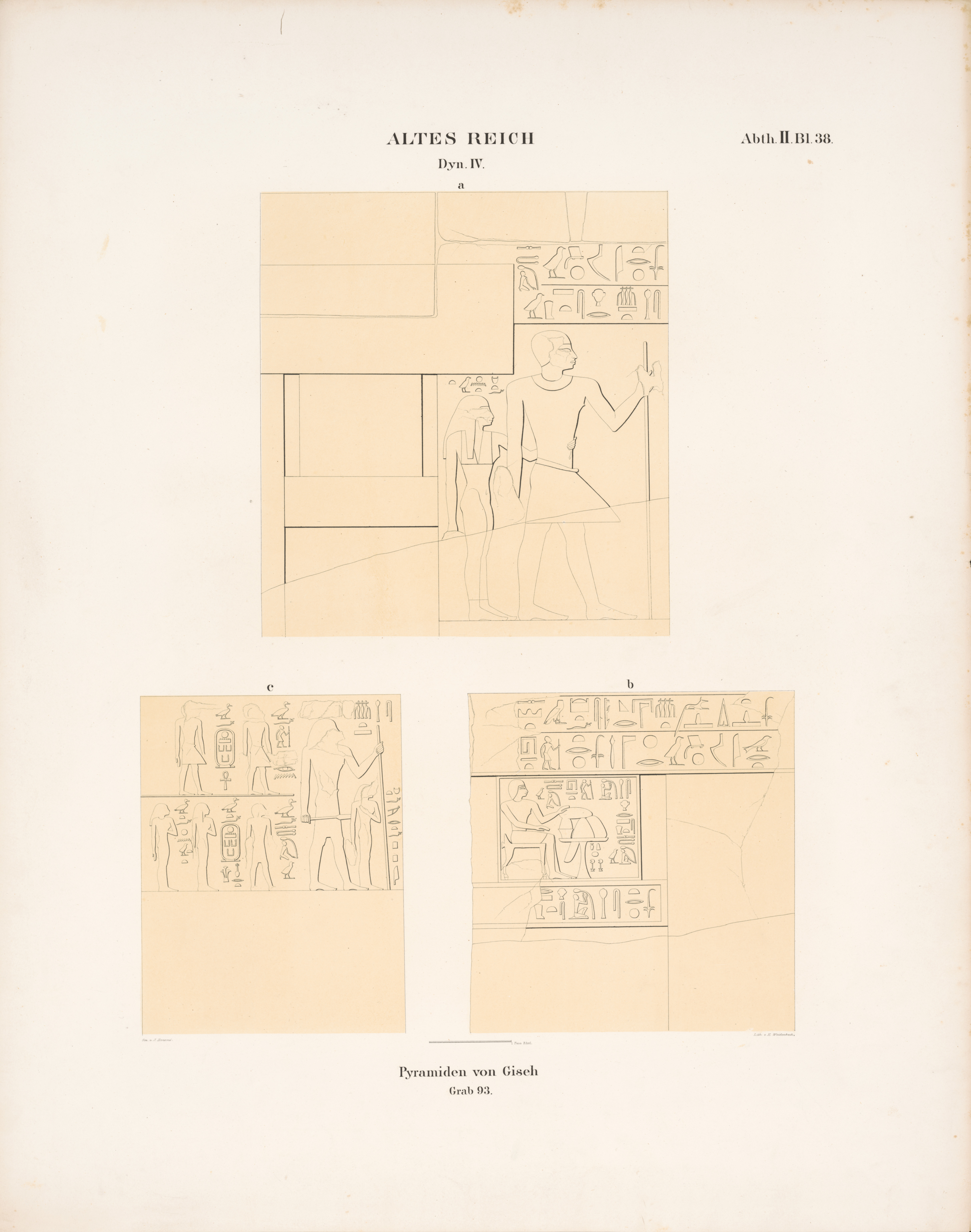 Drawings: Lepsius 93: relief from S room, W wall, and N room, S and W walls