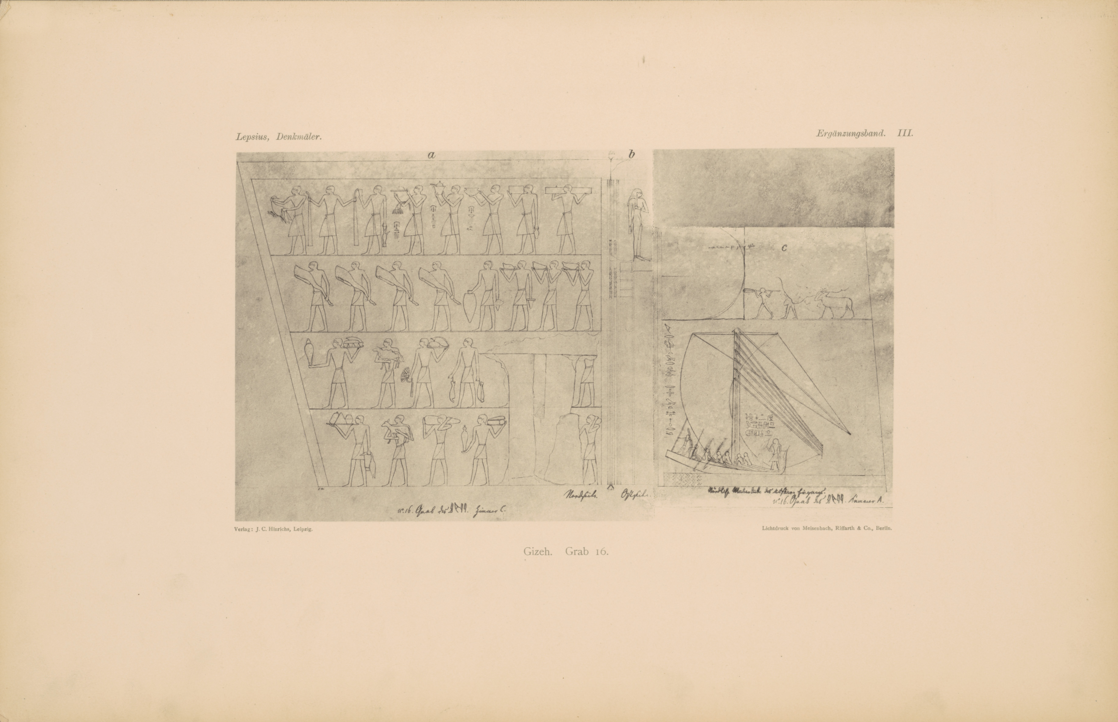 Drawings: G 6020 (= Lepsius 16): relief from chamber 3, N wall and E wall, and chamber 1, entrance, N jamb