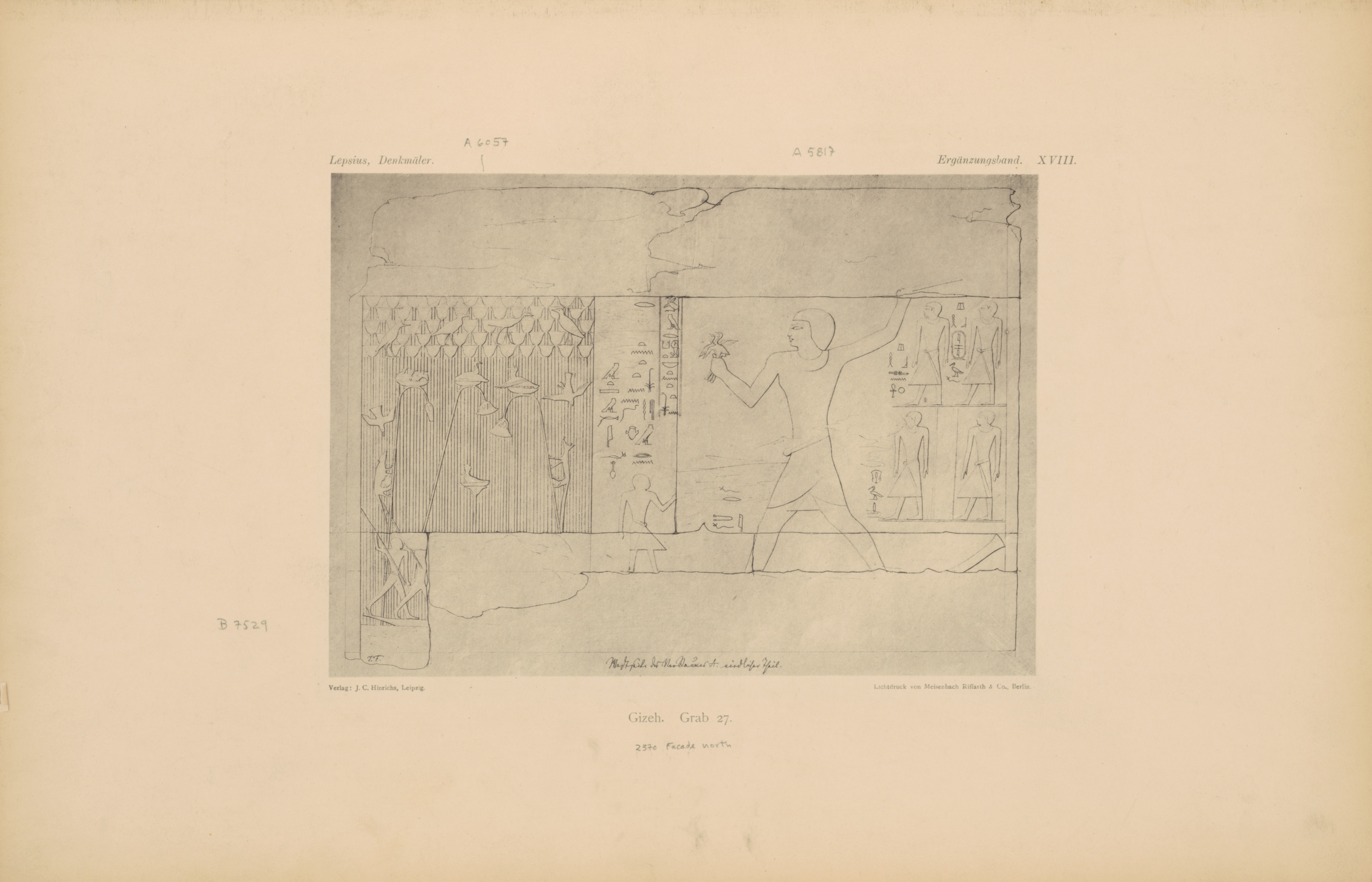 Drawings: G 2370 (= Lepsius 27): relief from portico, W wall, N of entrance