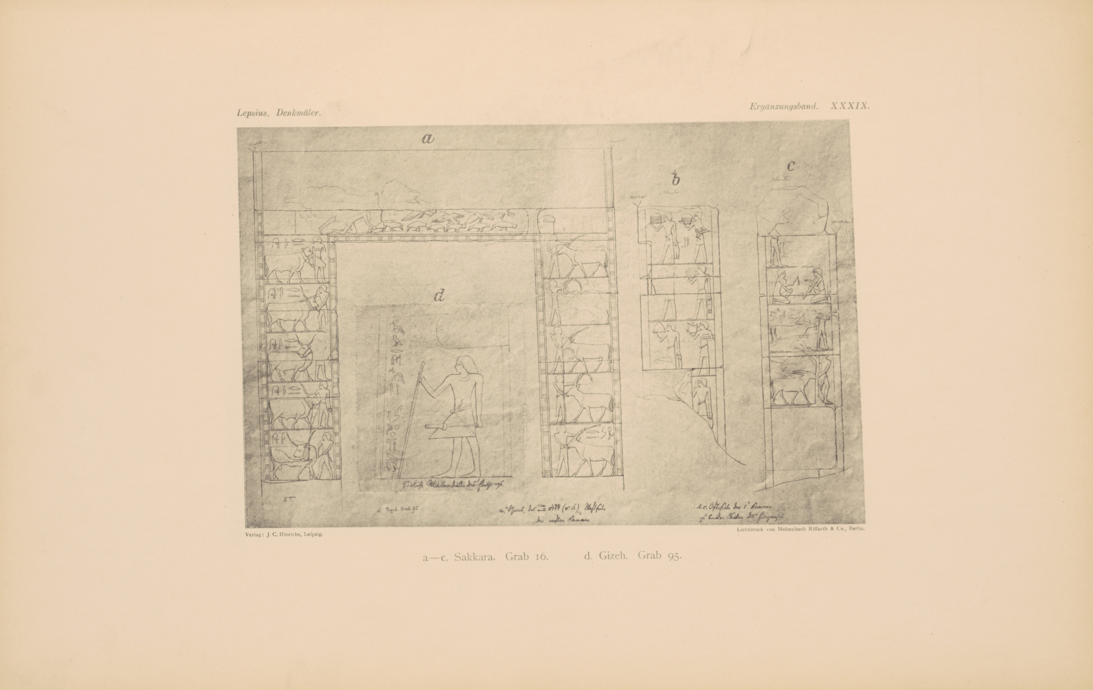 Drawings: G 8674 (= Lepsius 95): relief from entrance thickness, and tomb 16 at Saqqara