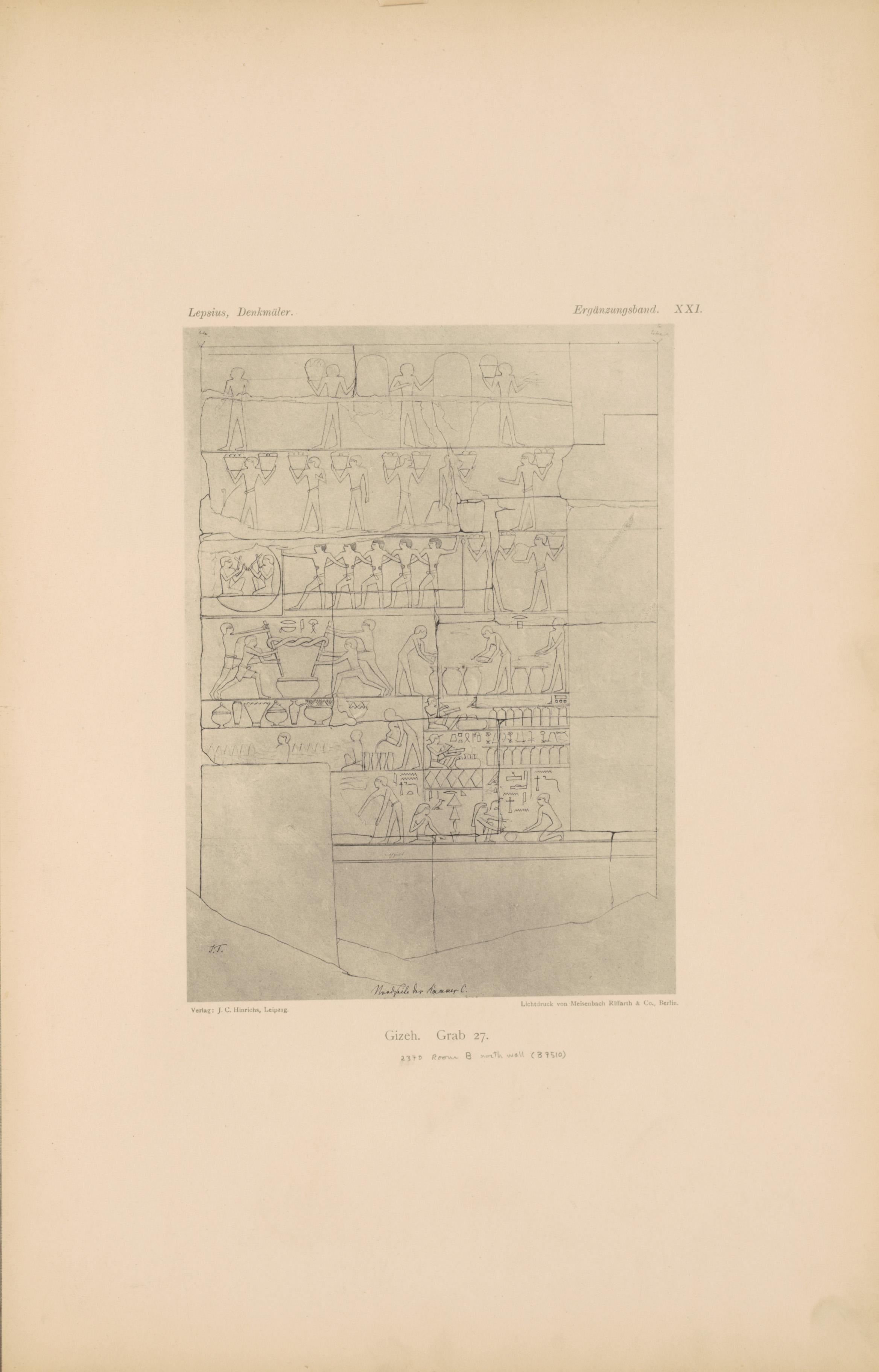 Drawings: G 2370 (= Lepsius 27): relief from Room III, N wall