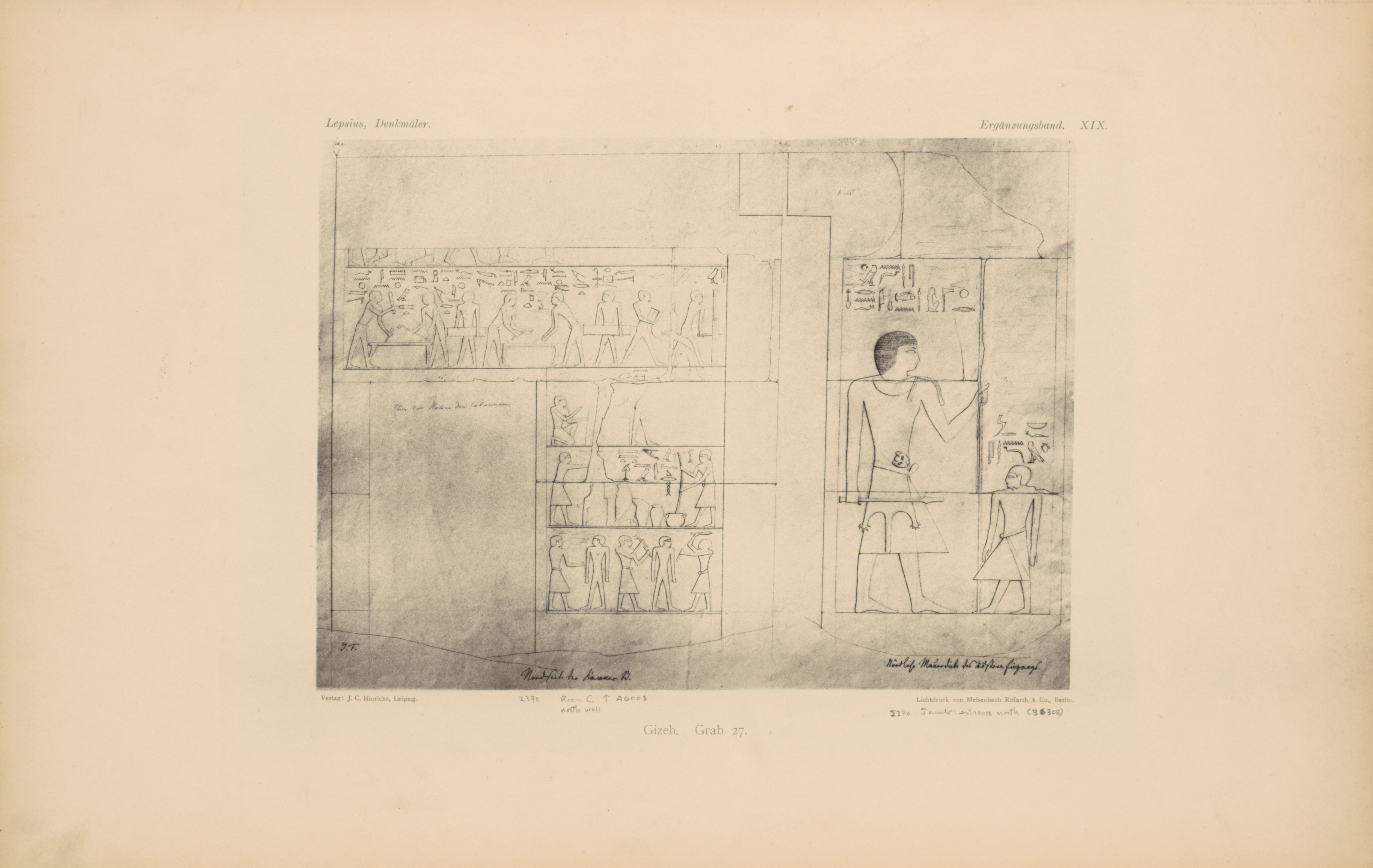 Drawings: G 2370 (= Lepsius 27): relief from Room II, N wall, and N entrance thickness