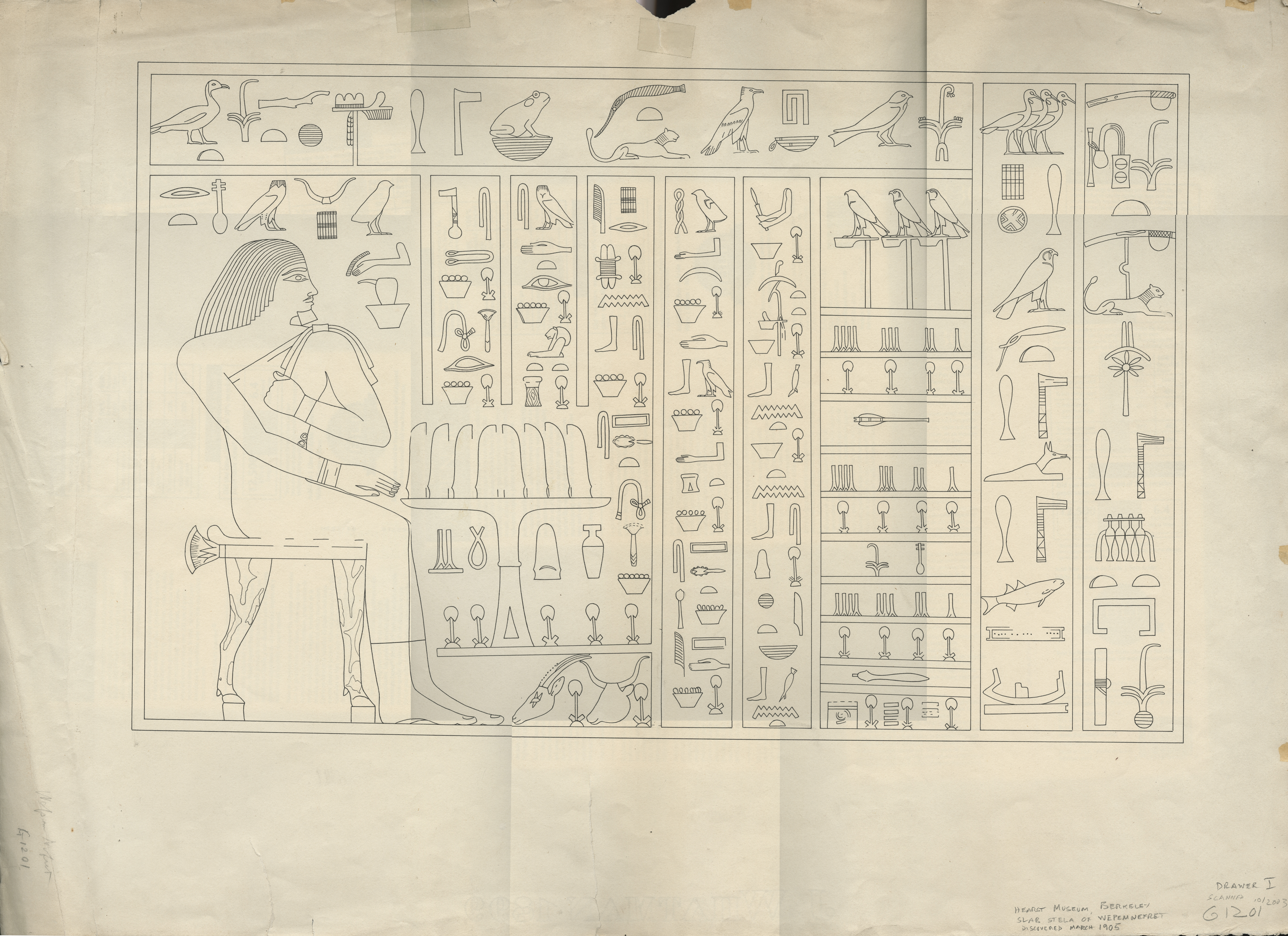 Drawings:  G 1201: slab stela of Wepemnefret