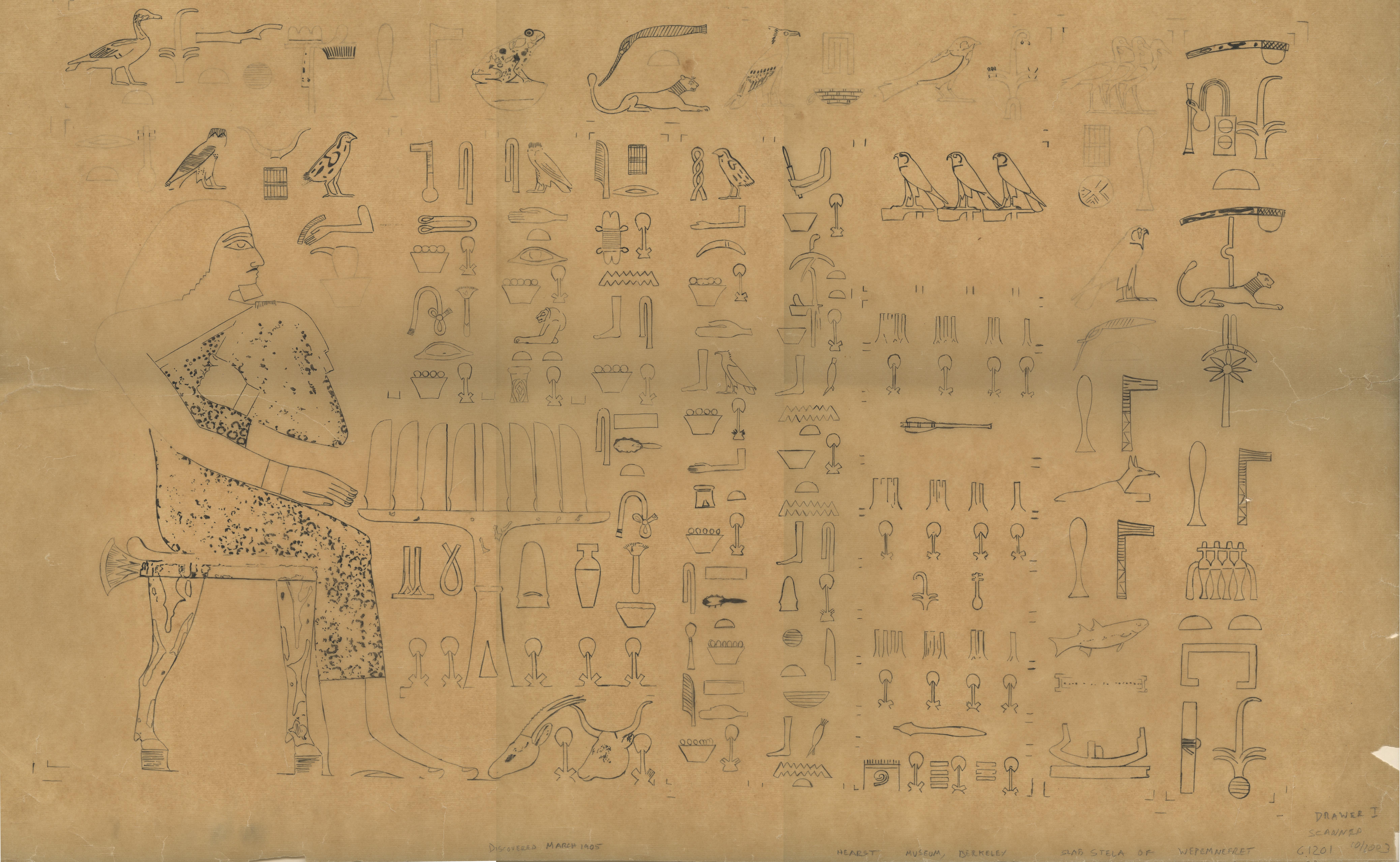 Drawings:  G 1201: slab stela of Wepemnefret