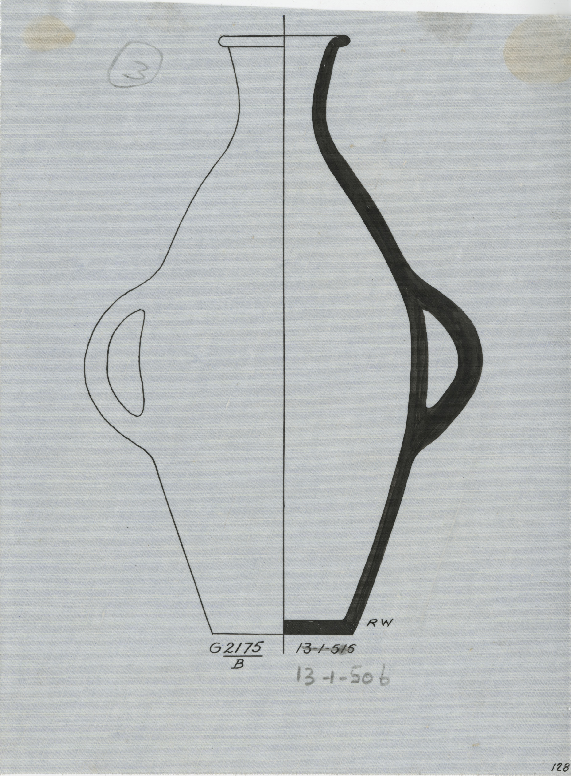 Drawings: G 2175, Shaft B: pottery, jar with two handles