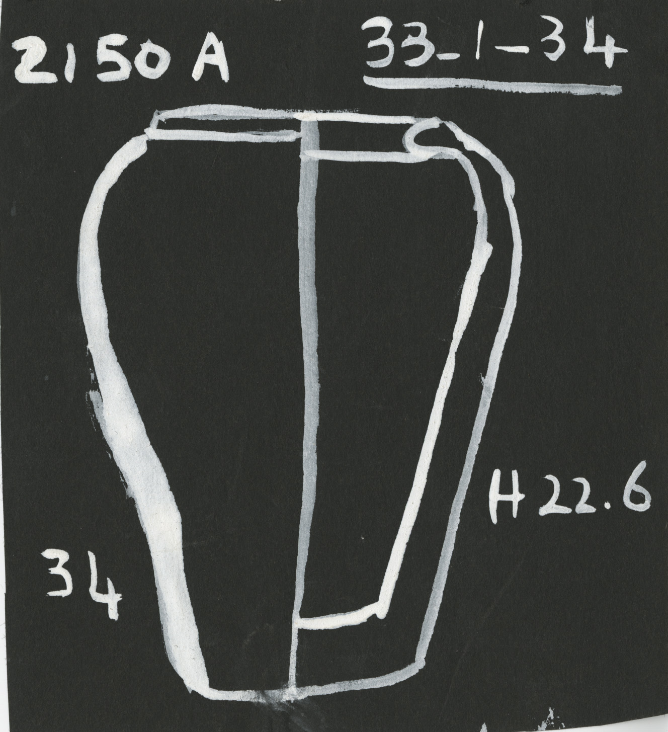 Drawings: G 2150, Shaft A: pottery collared jar