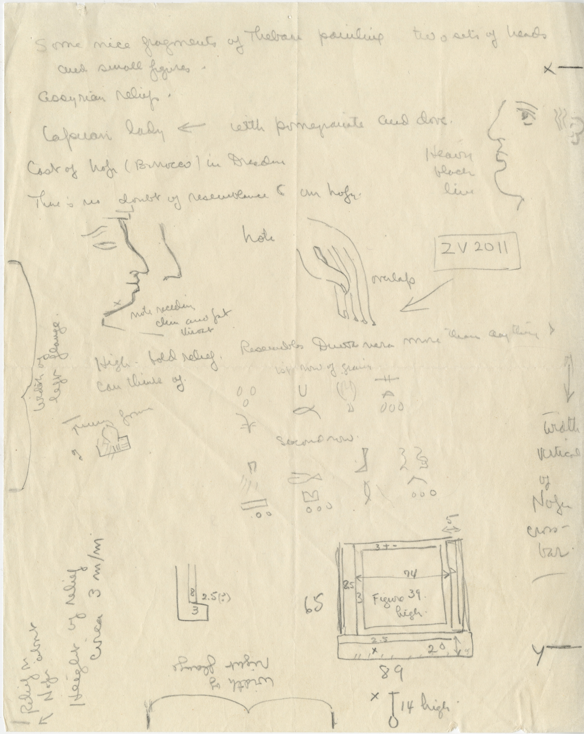 Notes: G 2110: false door tablet, W wall, notes and sketches